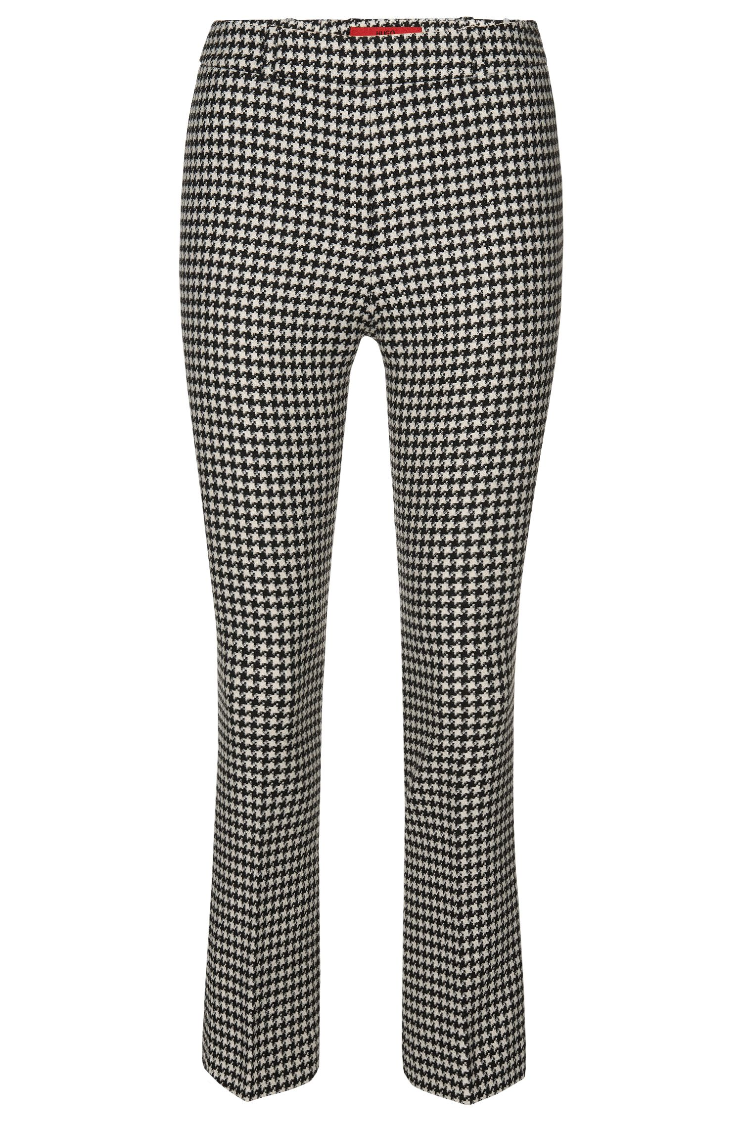 Trousers in stretch fabric with houndstooth pattern: 'Hanane 01'