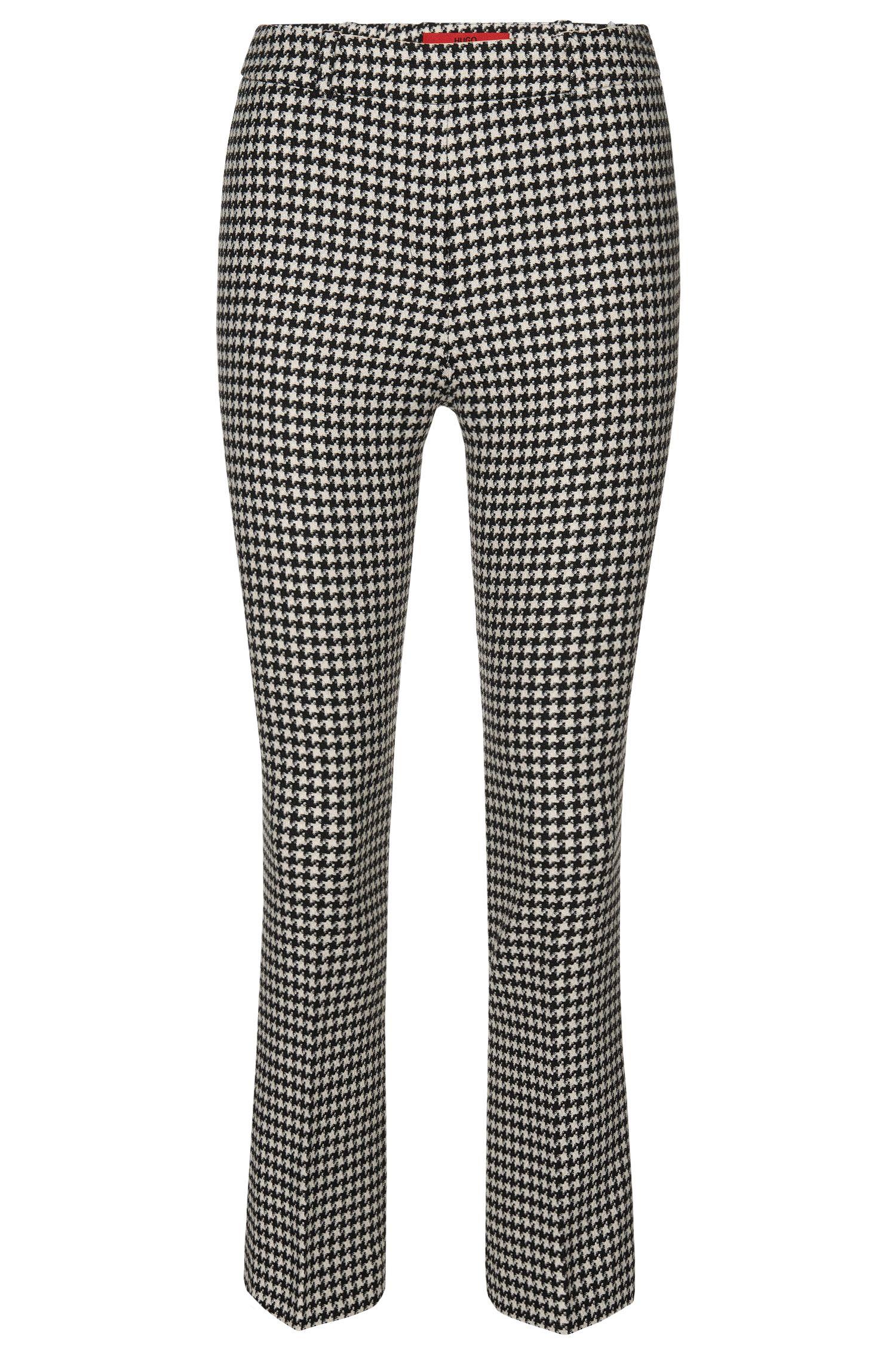 Pantalón con estampado de pata de gallo en tejido elástico: 'Hanane 01'