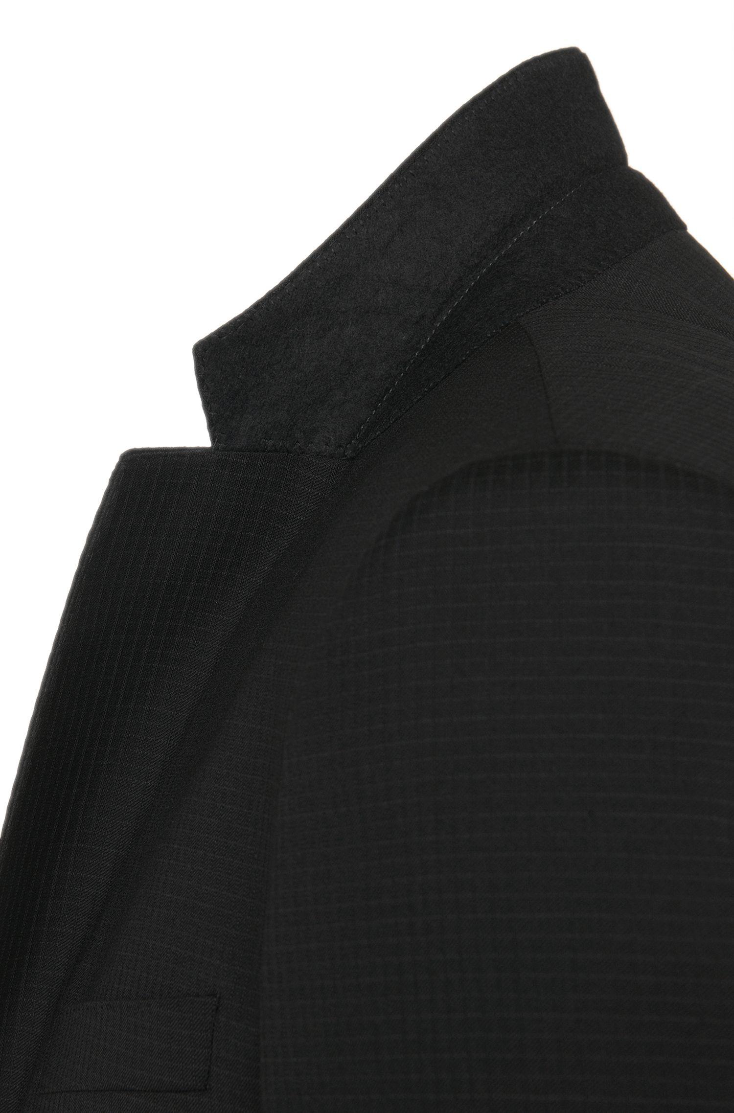 Dezent karierter Slim-Fit Anzug aus Schurwolle mit Weste: 'Huge4/Genuis3 WE'