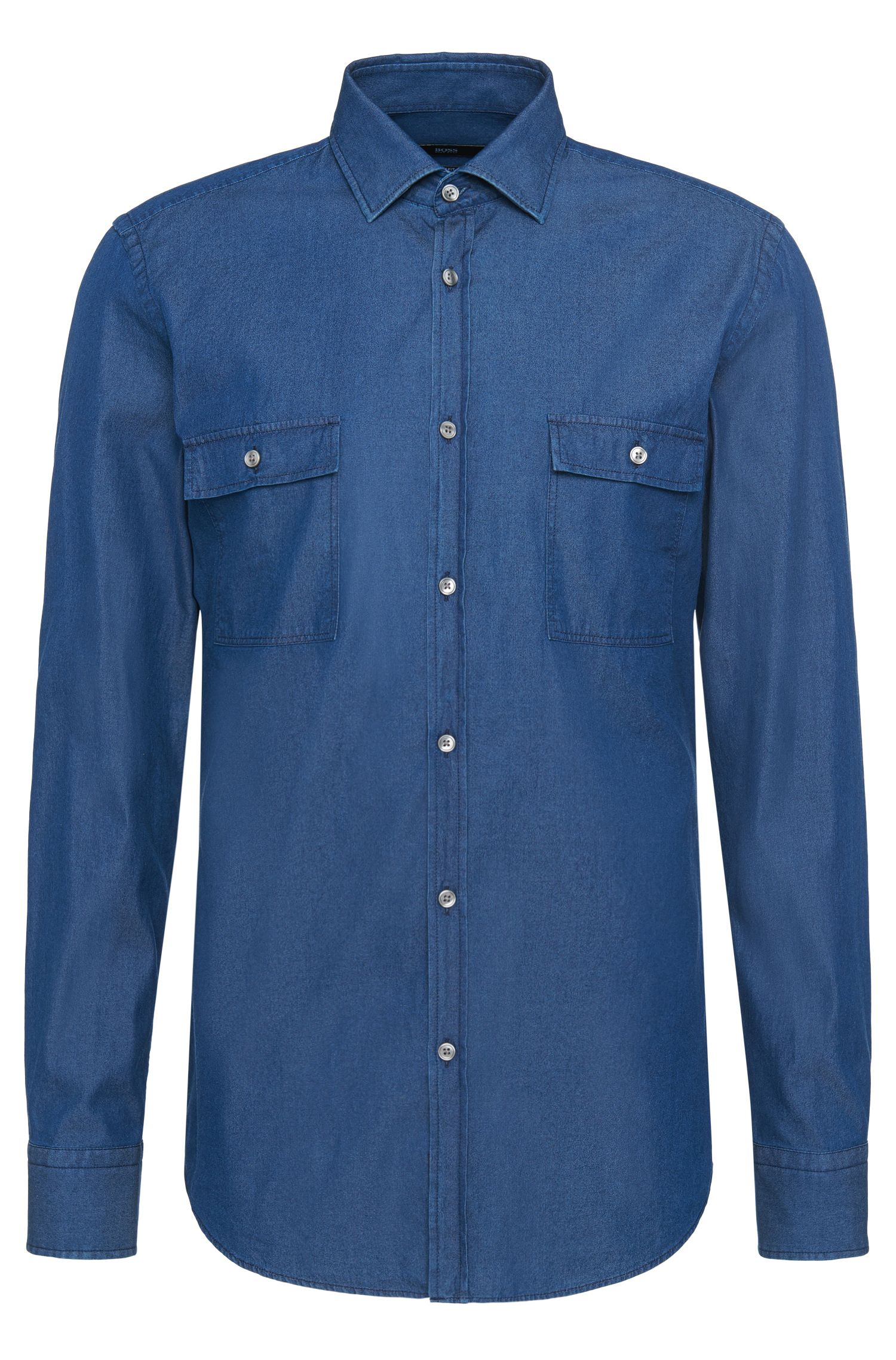 Camicia di jeans slim fit in cotone con taschini applicati sul petto: 'Jesk'