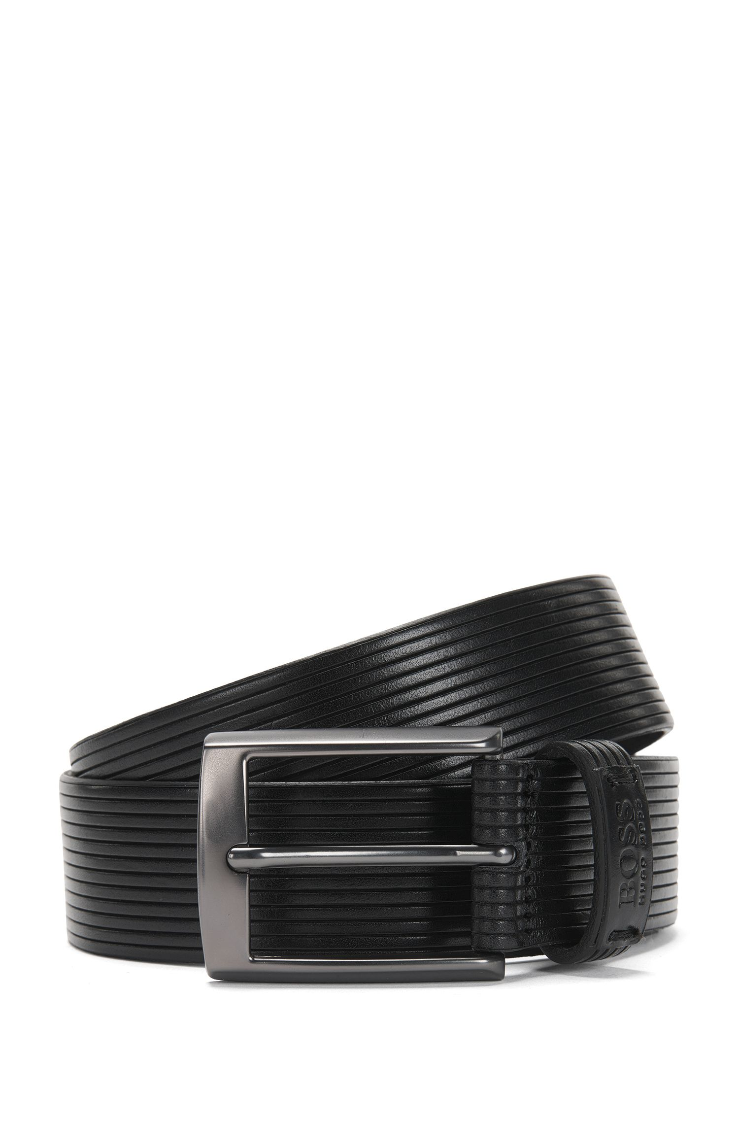 Belt in fluted leather: 'Seir_Sz35_ltem'
