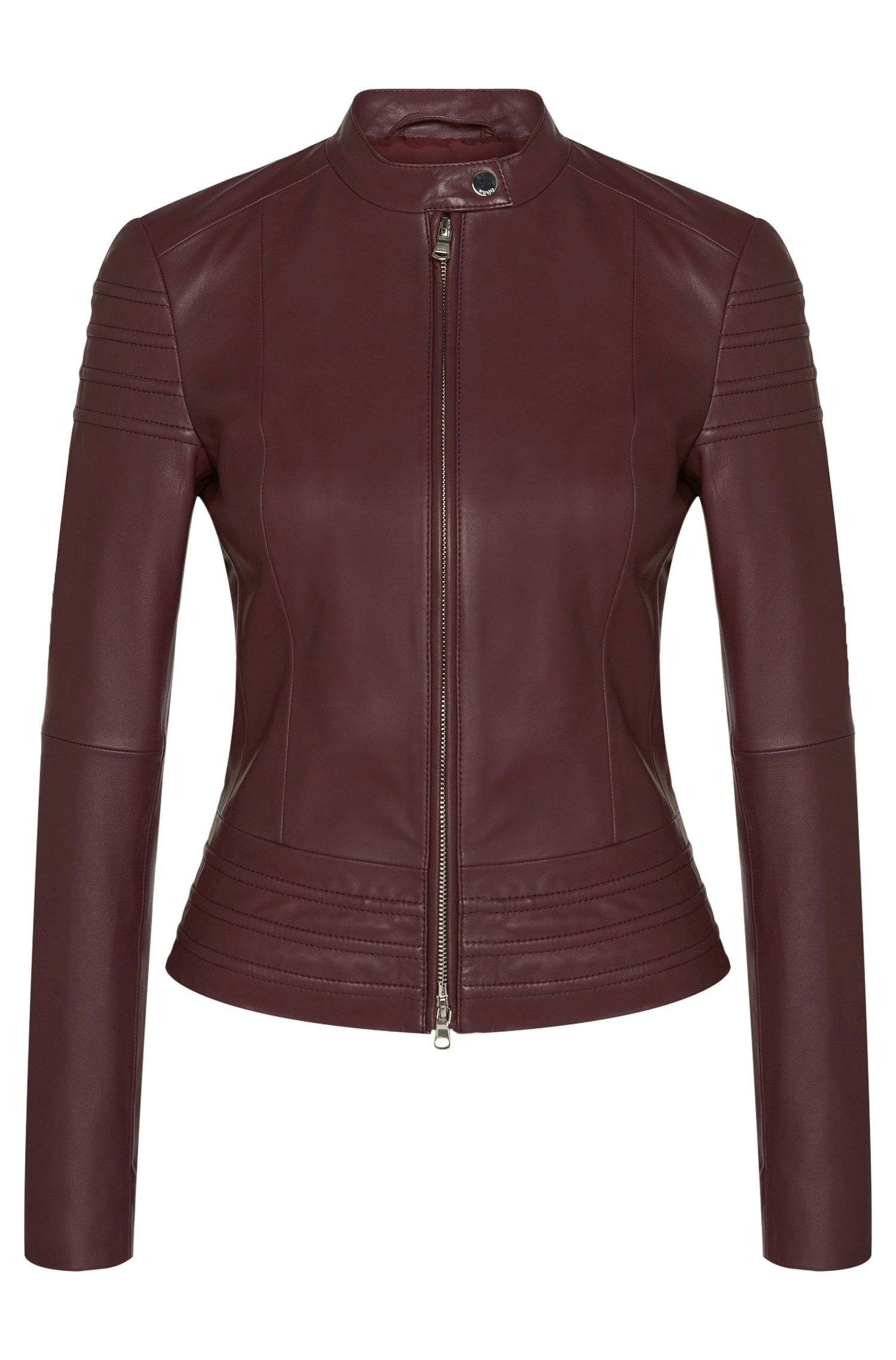 Leather jacket with quilted details: 'Liezel'