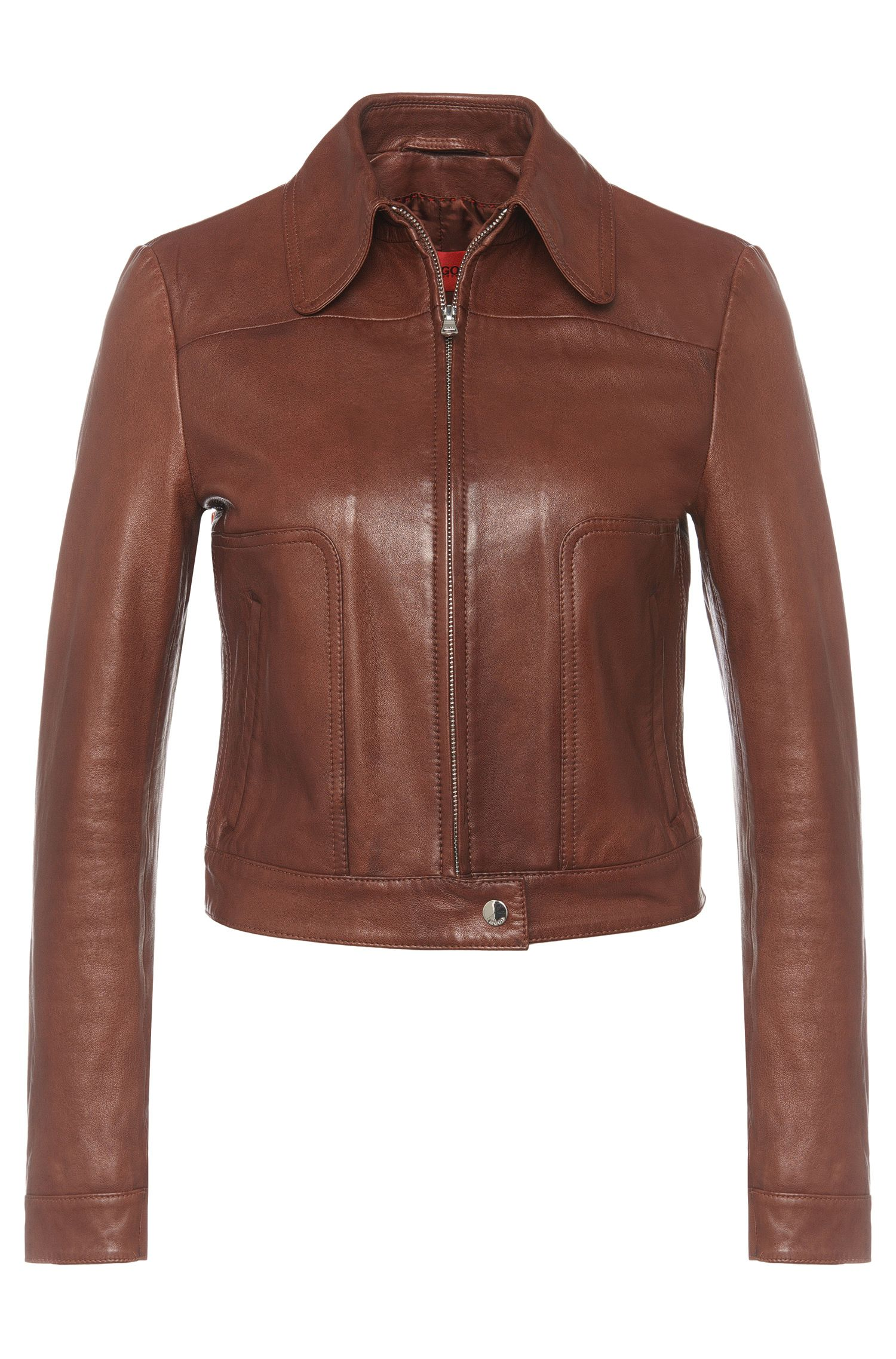Finely grained leather jacket with a short fit: 'Laonas'