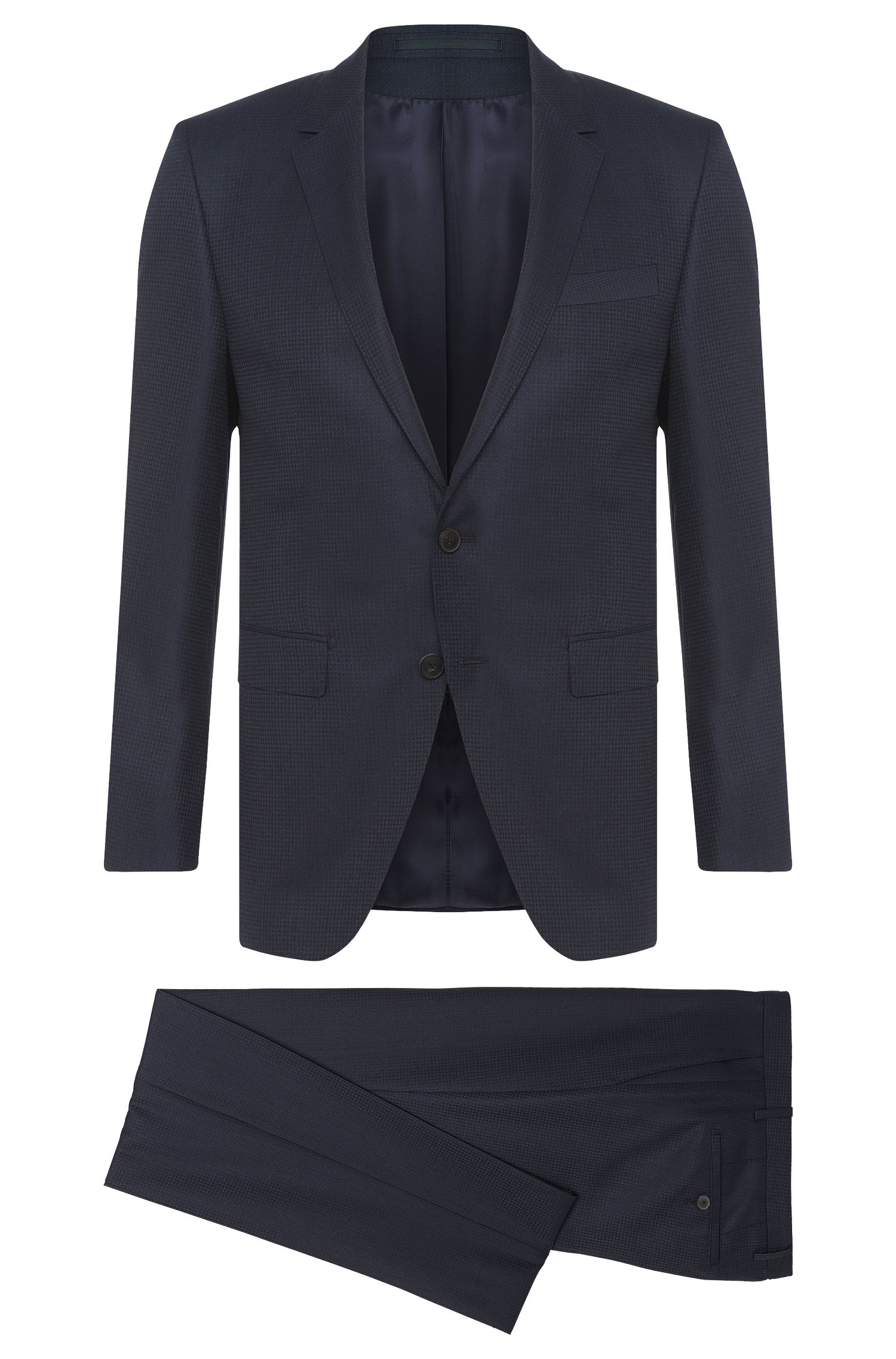 Extra-slim-fit Tailored suit in new-wool blend with silk: 'T-Reeve1/Wain'