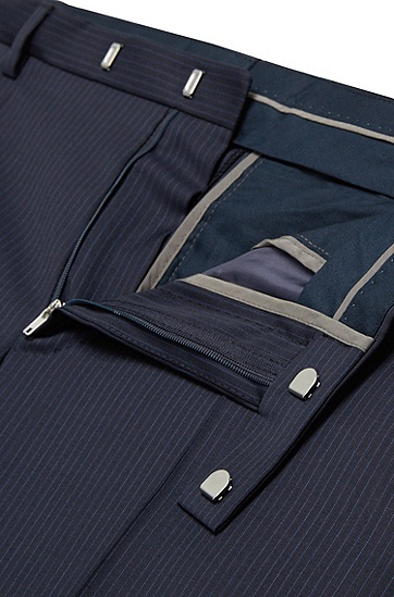Regular-Fit Anzug aus Schurwolle mit Nadelstreifen 'Johnstons1/Lenon', Dunkelblau