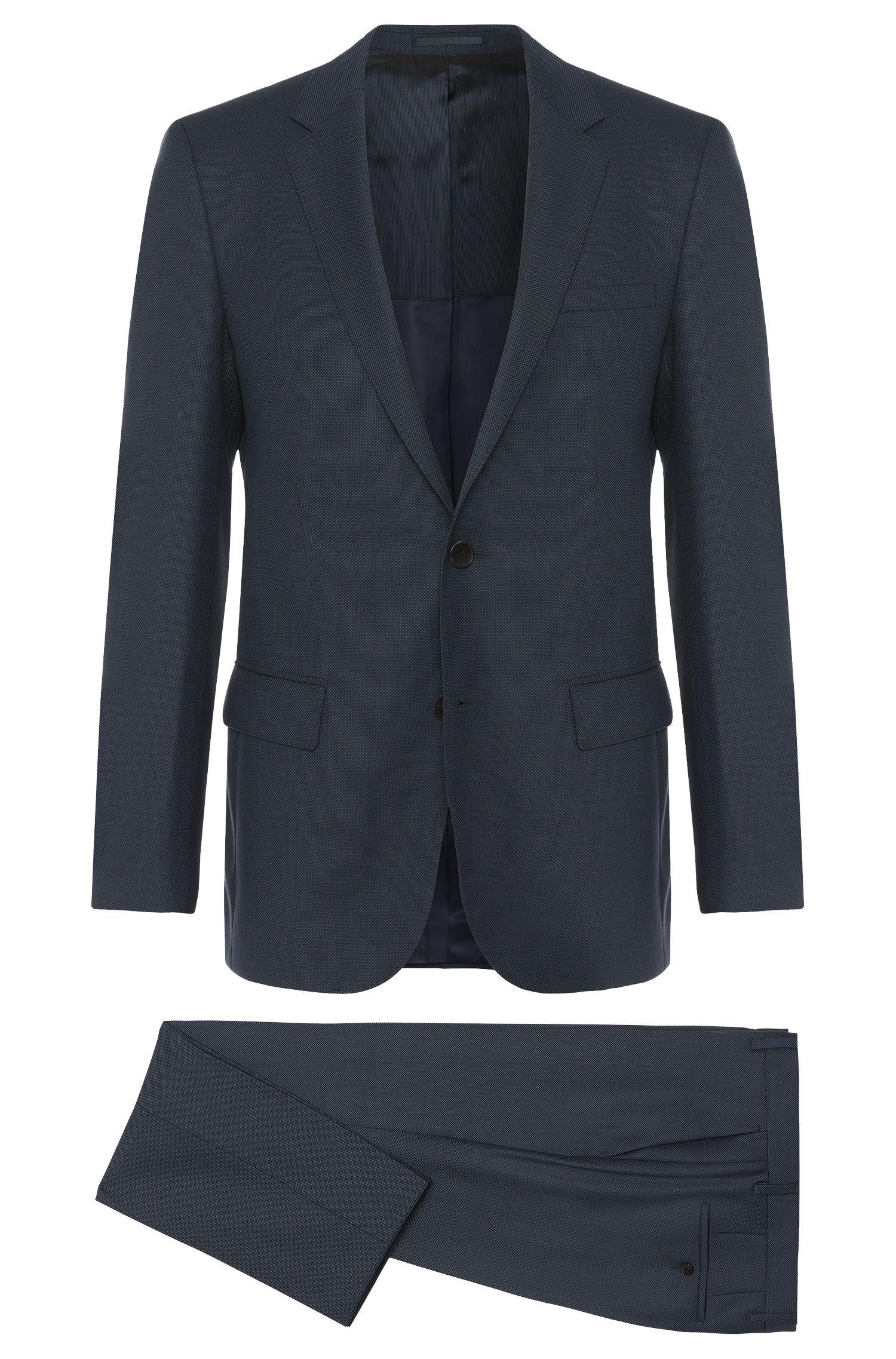 Raffinato abito Tailored slim fit a disegni in lana vergine: 'Huge4/Genesis3'