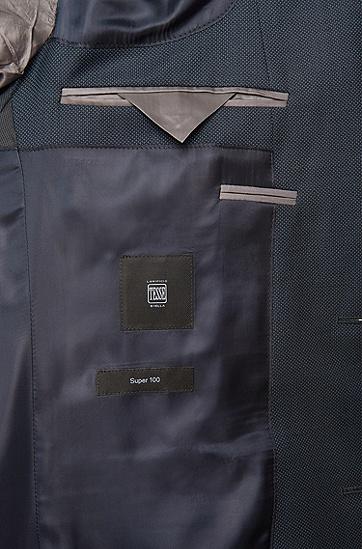 Fein gemusterter Slim-Fit Anzug aus Schurwolle 'Huge4/Genesis3', Dunkelblau