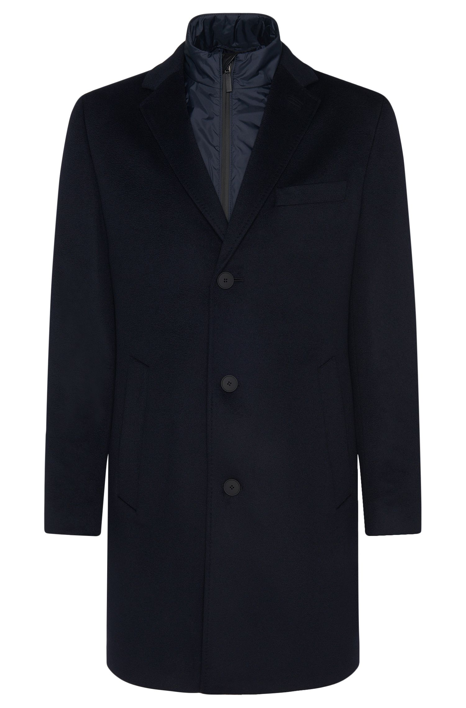 Tailored coat with a detachable jacket in new-wool blend with cashmere: 'T-Lennard2'