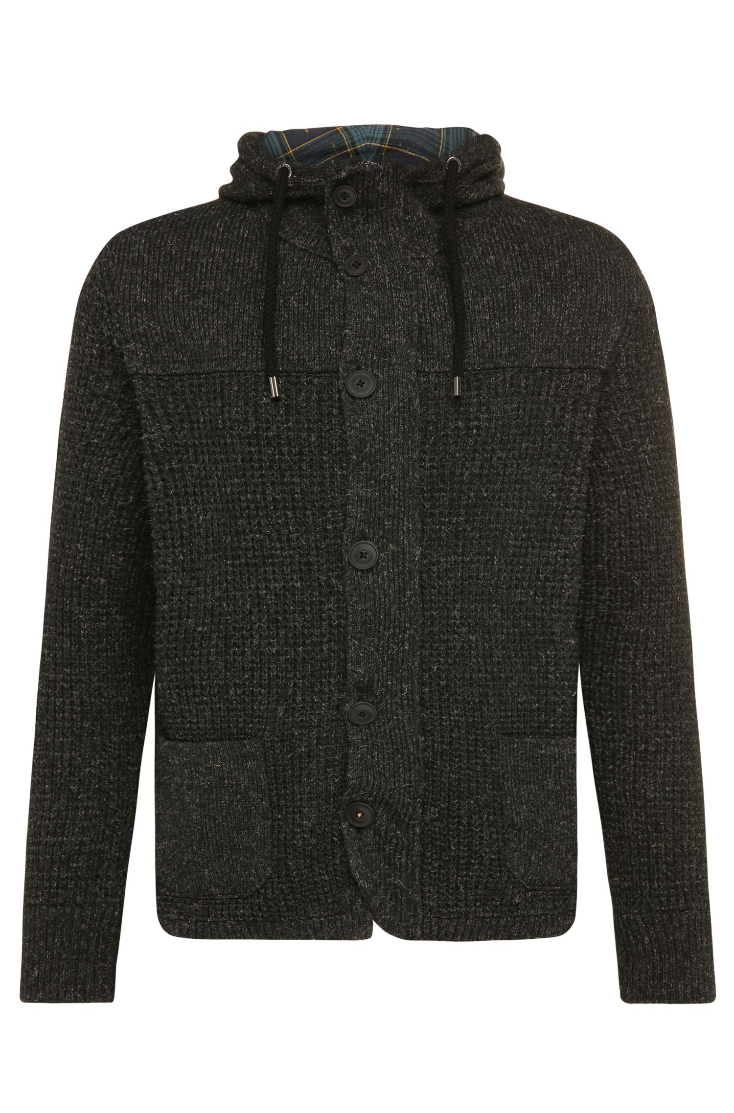 Regular-fit cardigan in woollen blend with linen: 'Korpa'