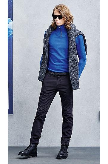 Slim-Fit Pullover aus Woll-Mix mit Strickmuster: ´Kradull`, Grau