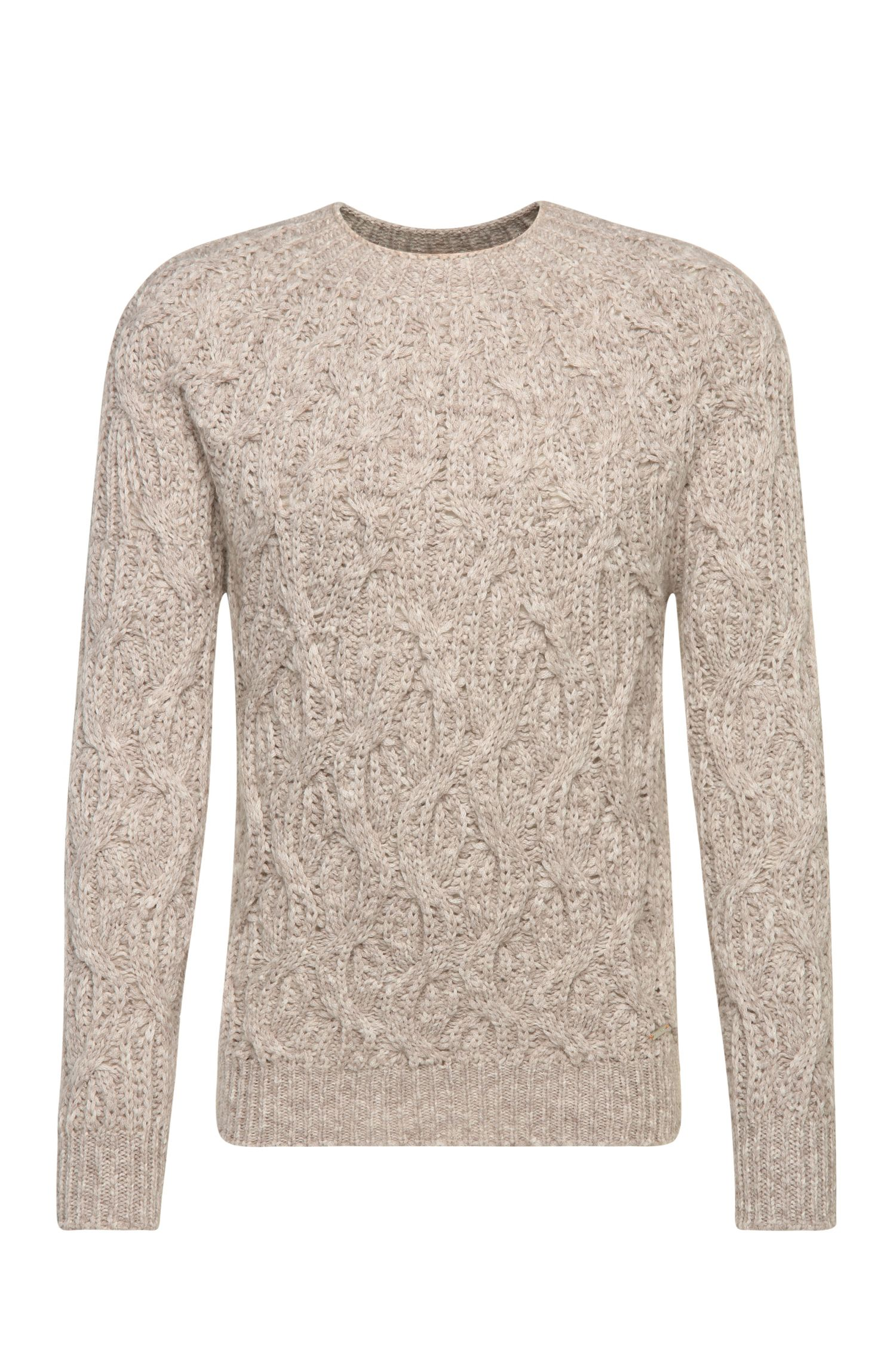 Slim-fit sweater in wool blend with patterned knit: 'Kradull'