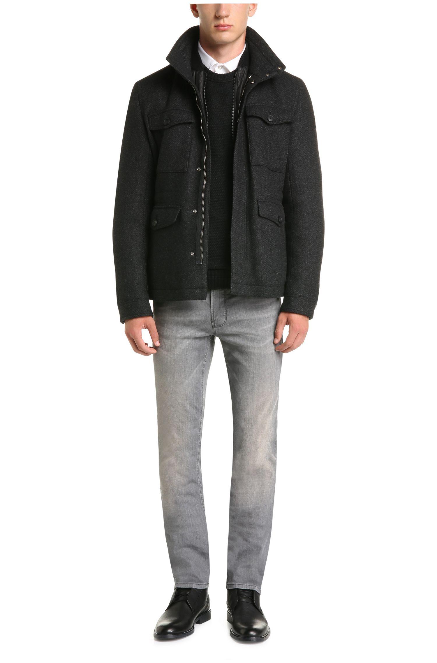 Slim-Fit Pullover aus Schurwolle mit Woll-Besatz: ´Kroy`