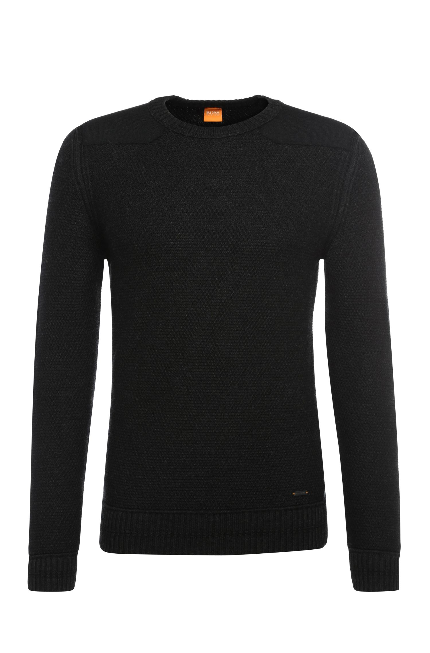 Slim-fit sweater in new wool with wool trim: 'Kroy'