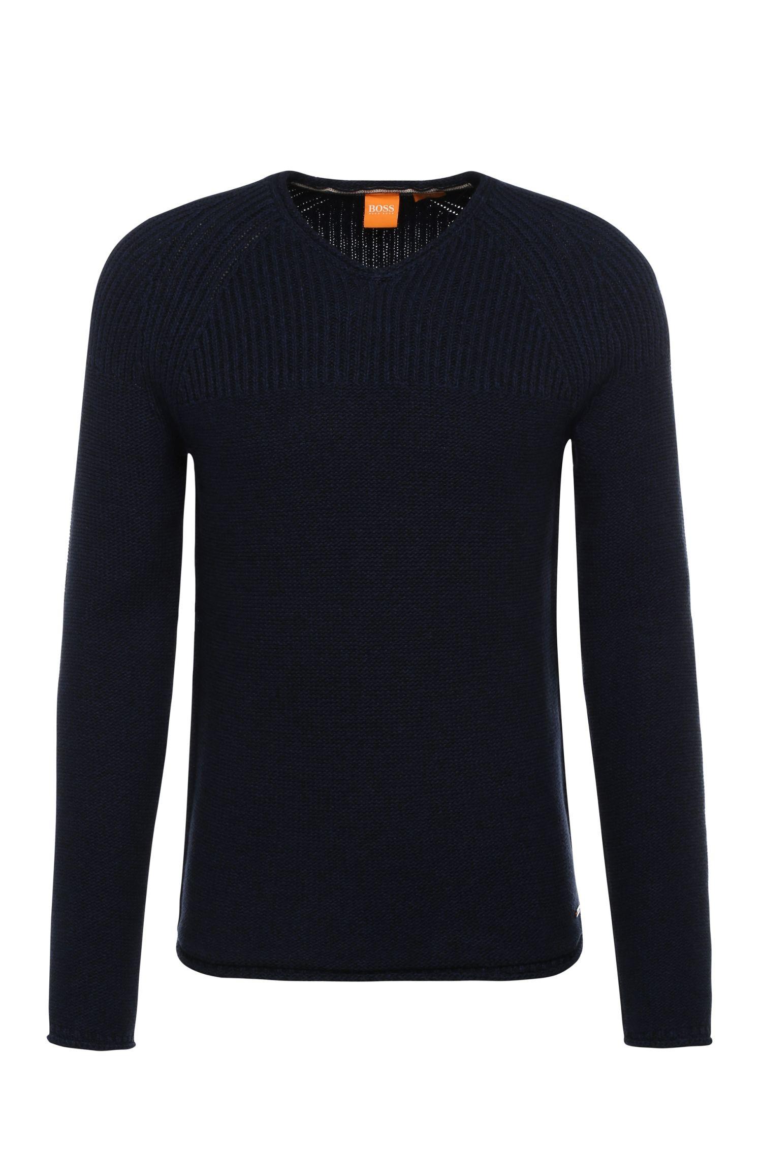 Narrow-cut sweater in cotton: 'Arkus'