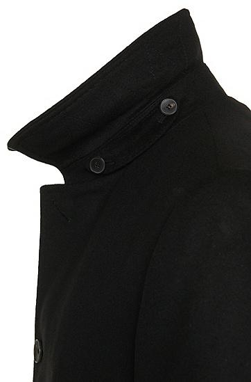 Fein melierter Mantel aus Schurwoll-Mix mit Kaschmir-Anteil: 'Task1', Schwarz