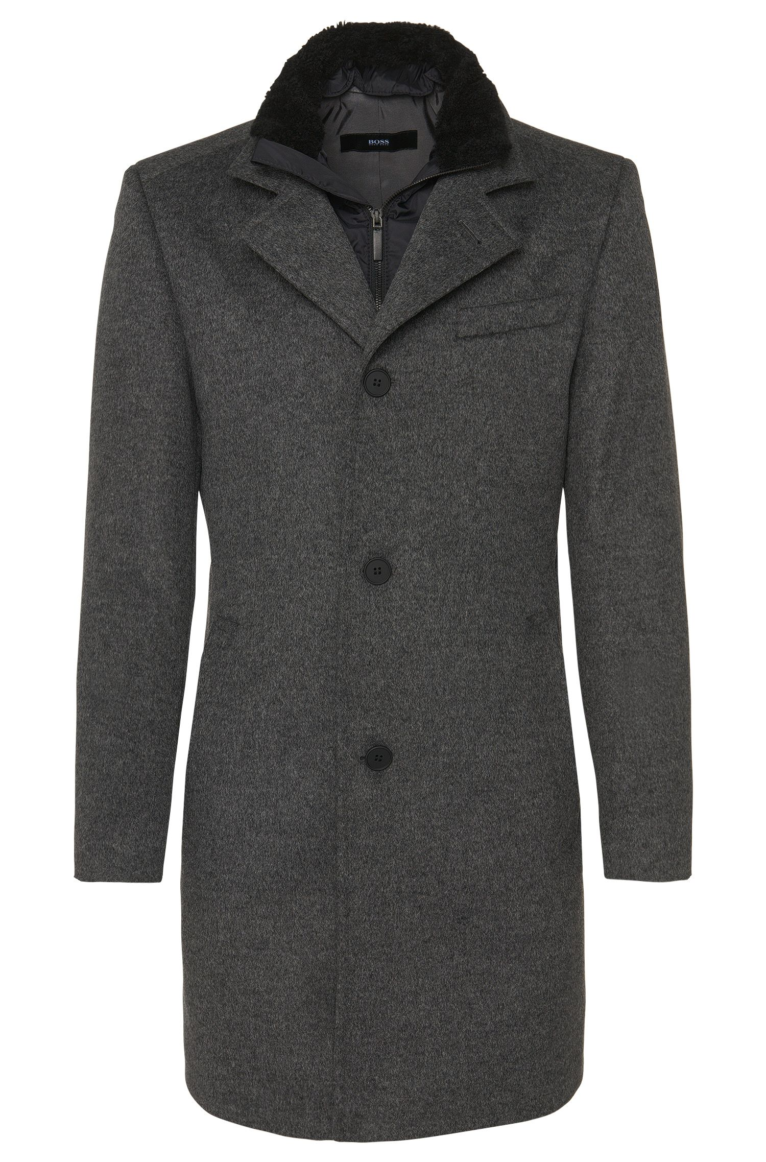 Coat in new-wool blend with cashmere and a detachable zip panel: 'Niklas'