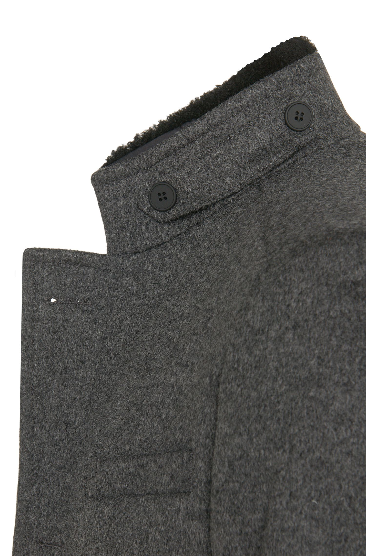 Manteau en laine vierge mélangée à teneur en cachemire, à empiècement zippé amovible: «Niklas»