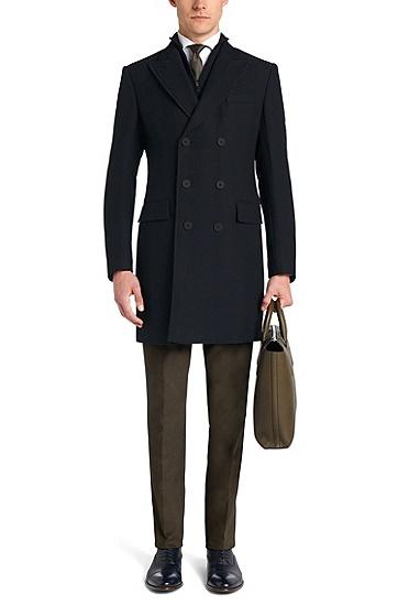 Mantel aus Schurwolle mit Fischgrät-Struktur: 'Darvin2', Dunkelblau