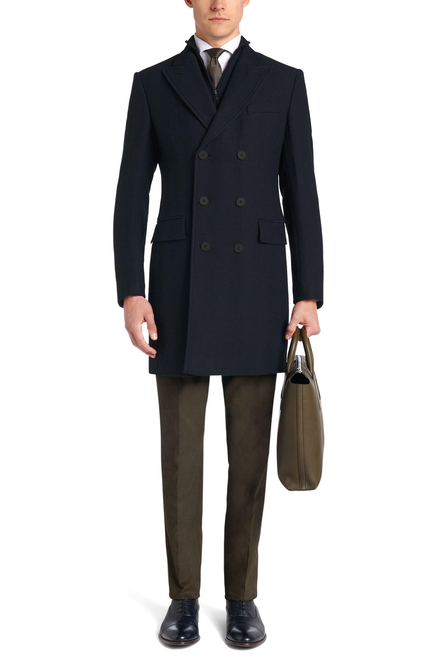 Mantel van scheerwol met visgraatstructuur: 'Darvin2'