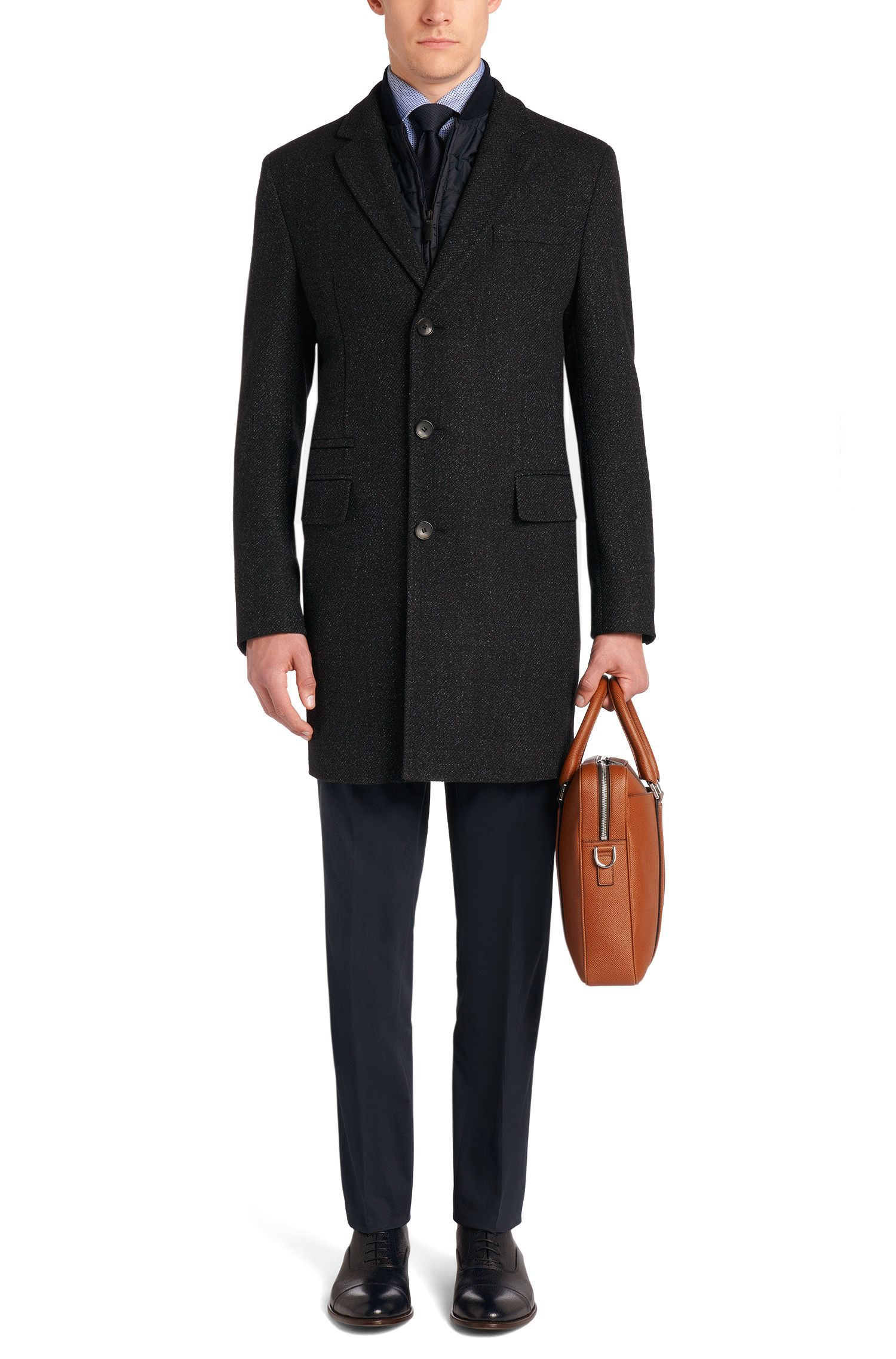 Manteau en laine vierge mélangée à empiècement amovible: «Nadim»