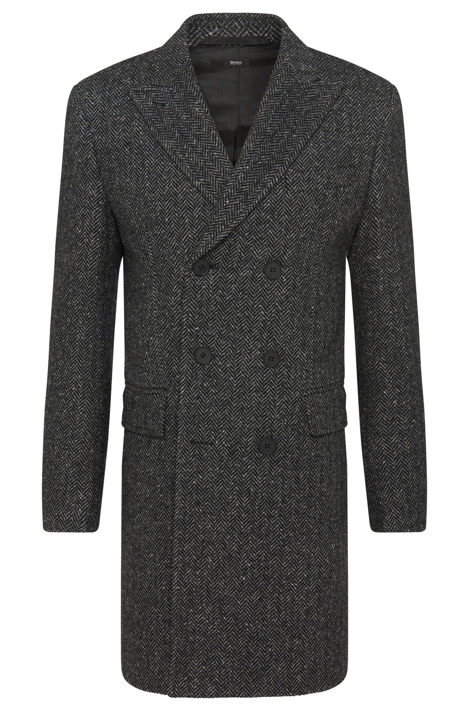 Manteau à motif en laine vierge mélangée à teneur en soie: «Darwin2»