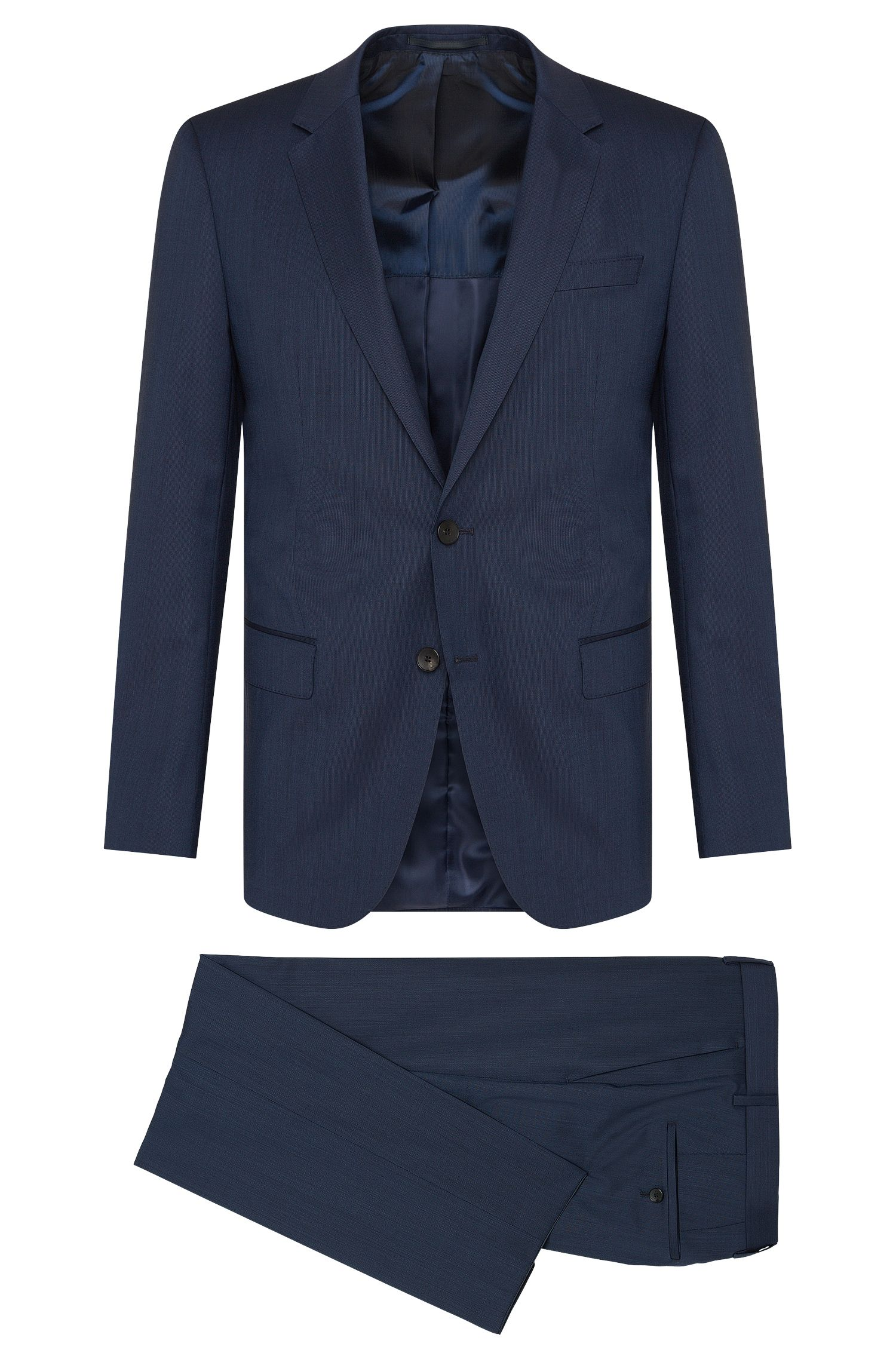 Finely patterned slim-fit suit in new wool: 'Huge4/Genius3'