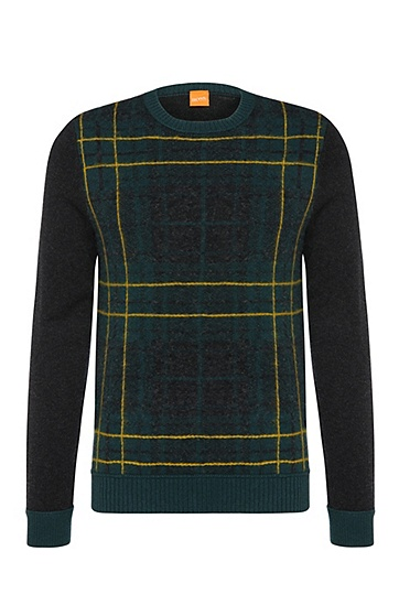 Checked slim-fit sweater in new wool: 'Abrush', Dark Green