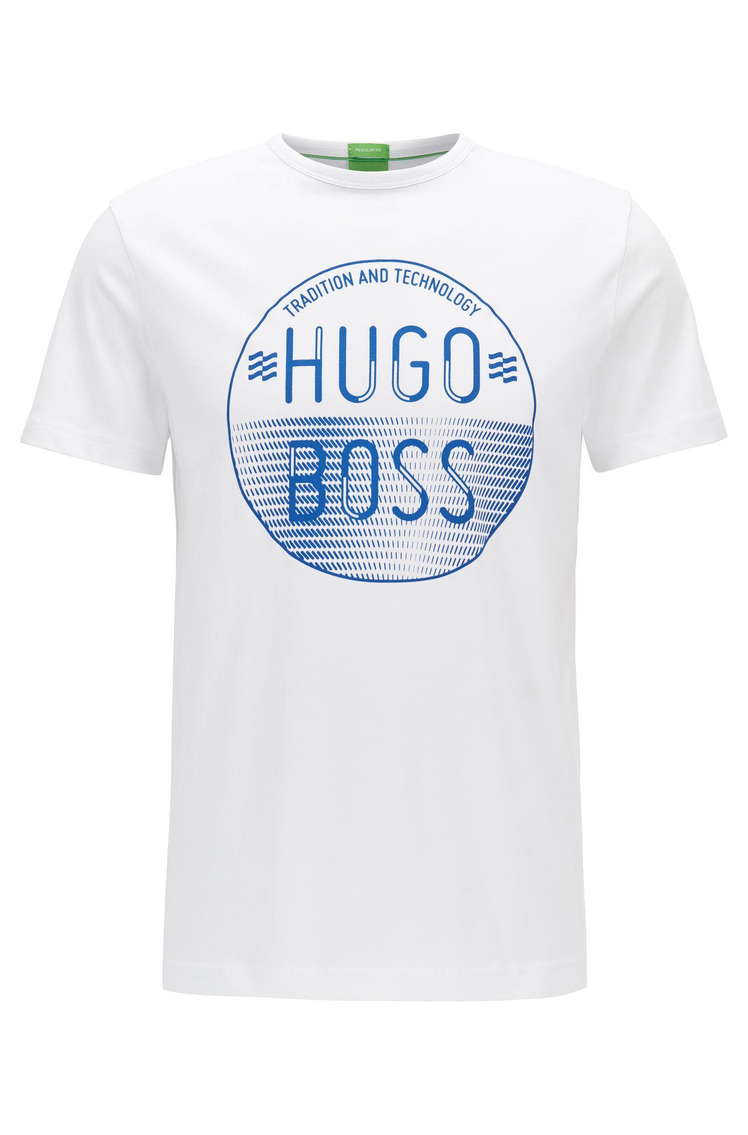 Regular-fit shirt van katoen met logoprint: 'Tee 1'