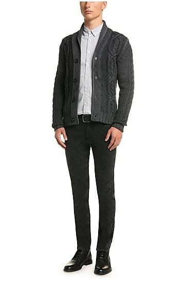 Strickjacke aus Schurwolle mit Schalkragen: ´Klamell`, Dunkelgrau