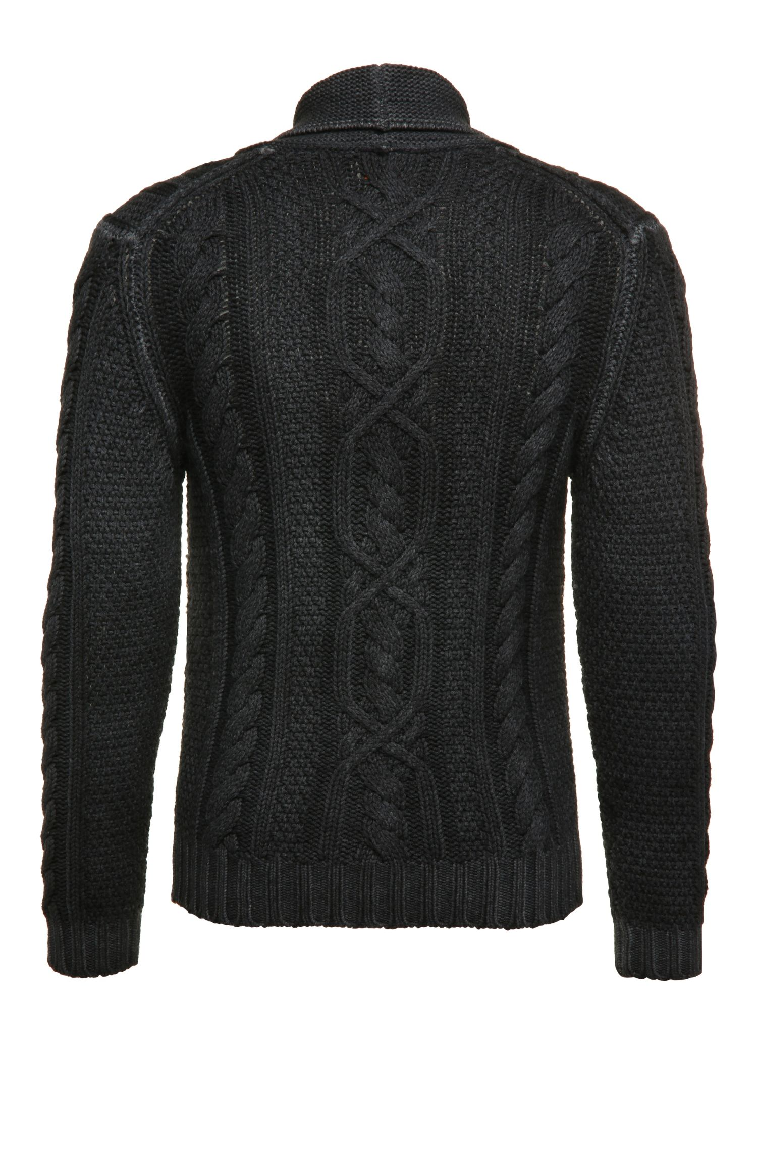Veste en maille de laine vierge à col châle: «Klamell»