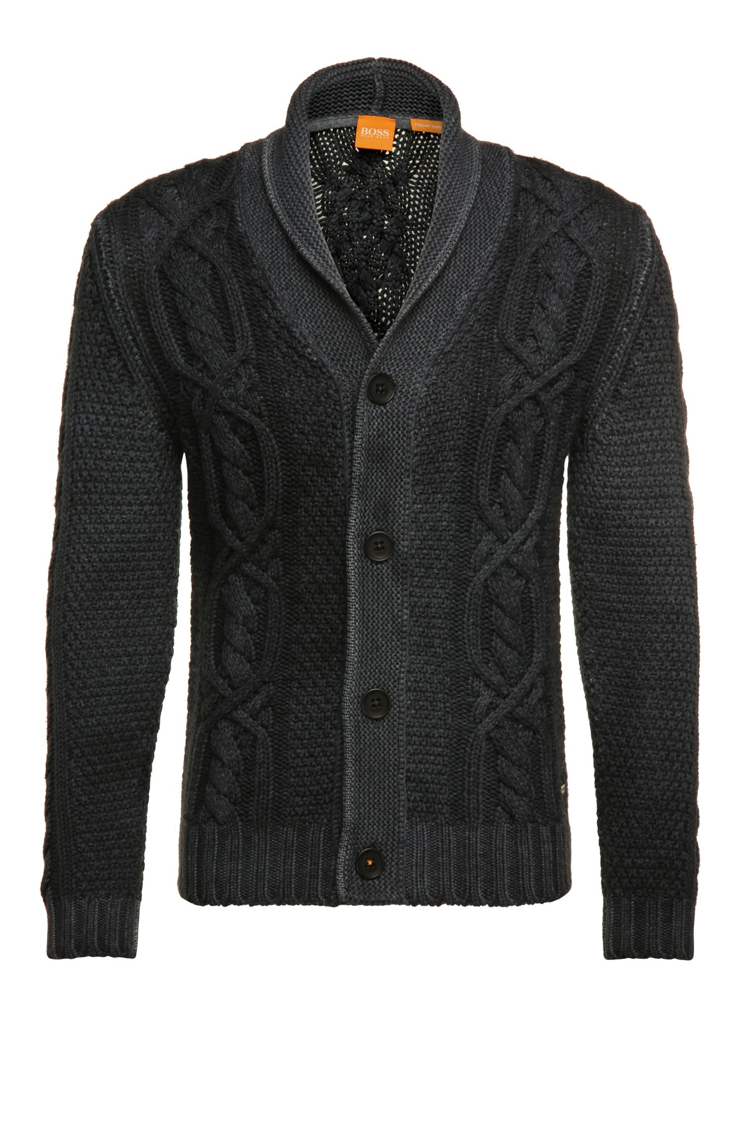 Cardigan in new wool with shawl collar: 'Klamell'