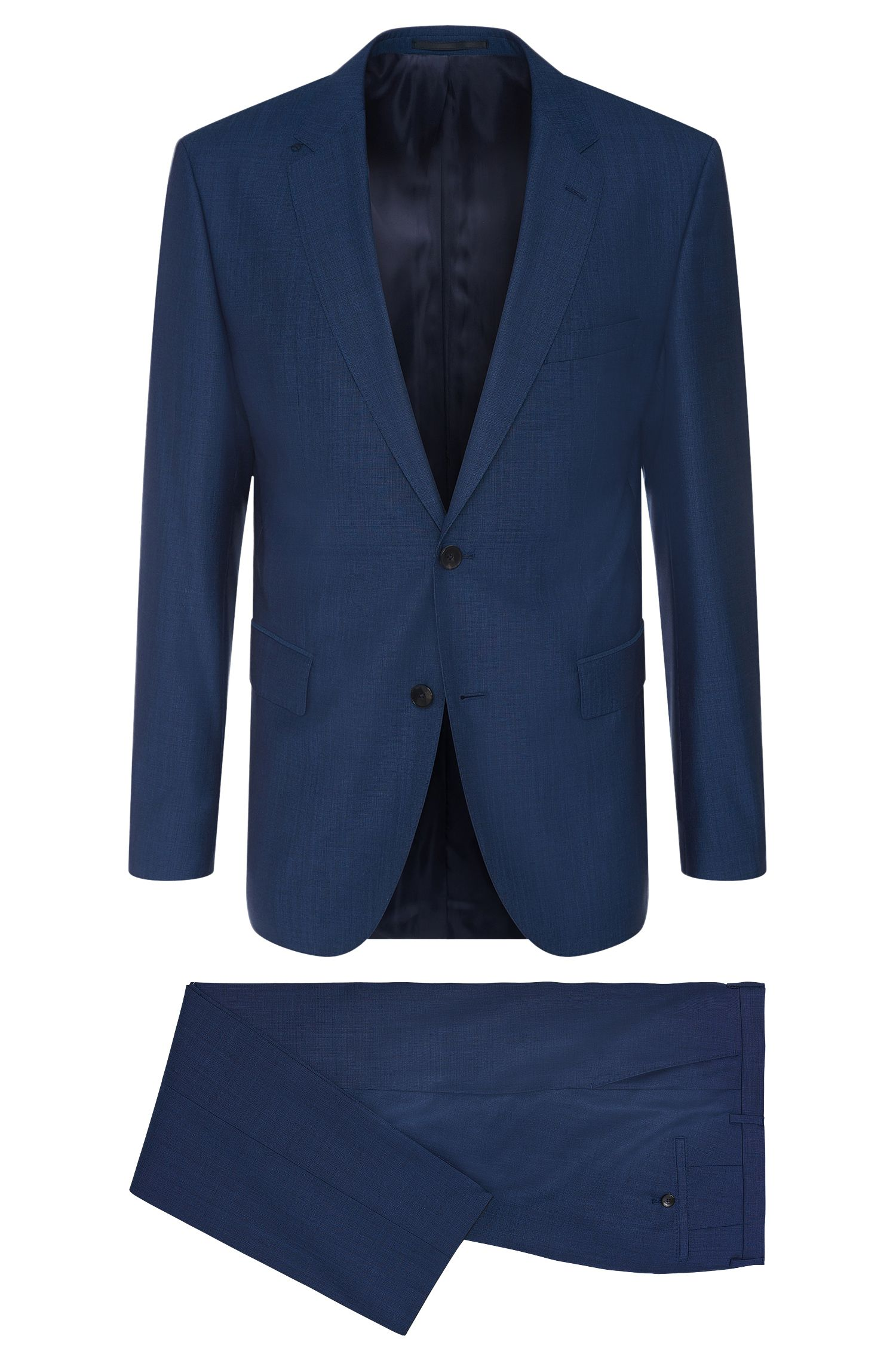 Finely patterned regular-fit suit in new-wool blend with silk: 'Johnstons1/Lenon'