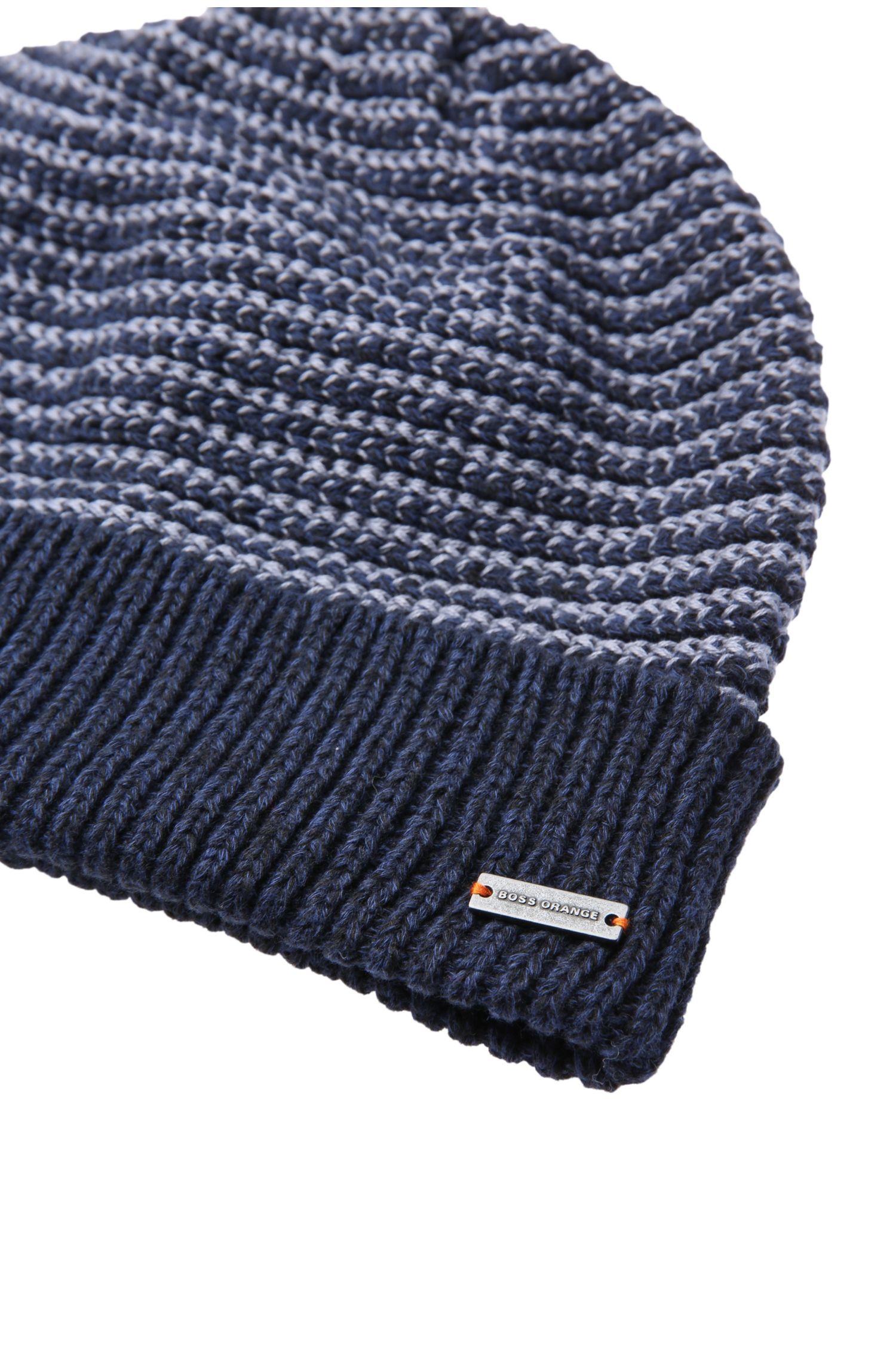 Bonnet en maille de coton à rayures: «Kosur»