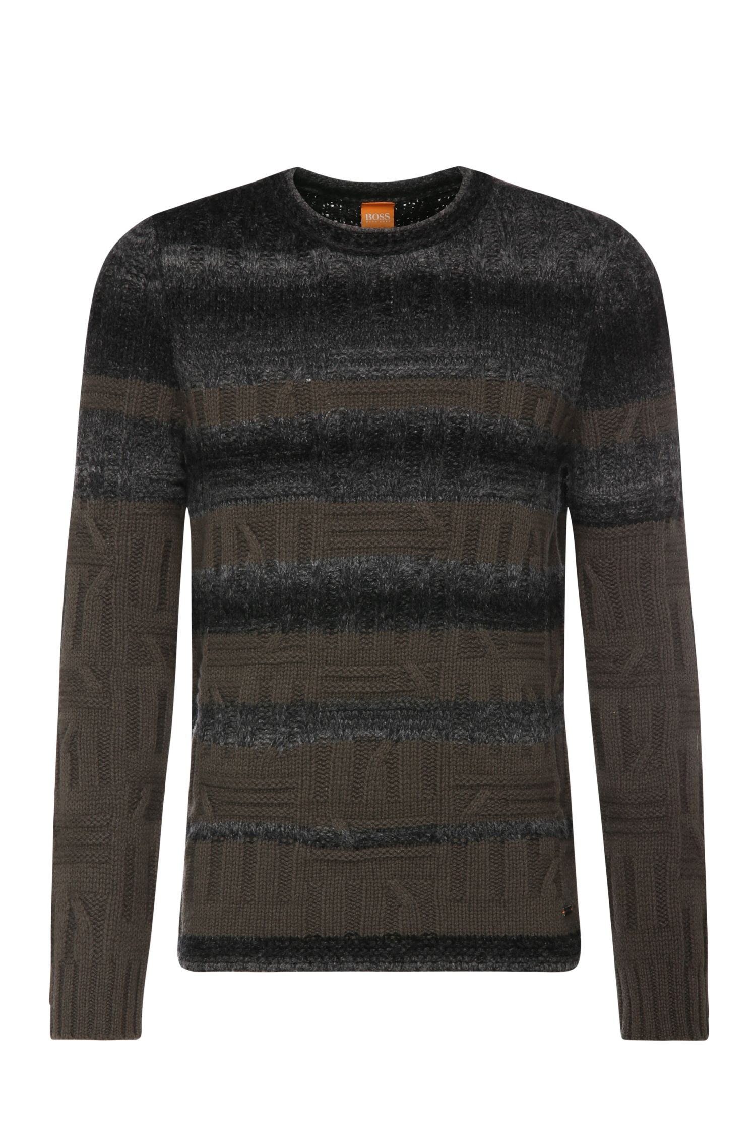 Gebreide slim-fit trui van een scheerwolmix met katoen: 'Kabruk'