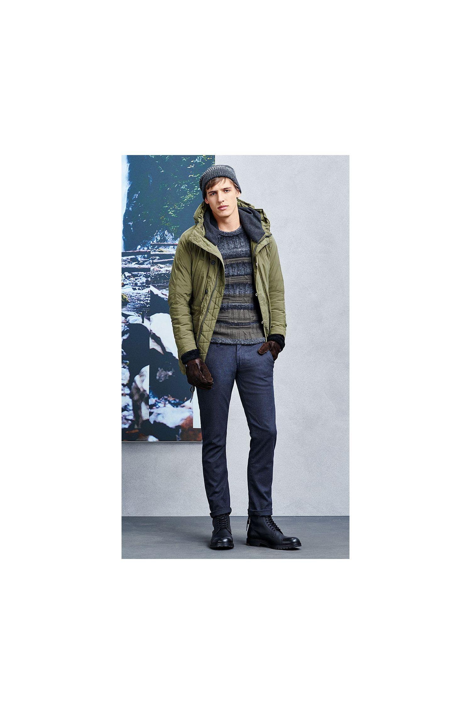 Pull en maille Slim Fit en laine vierge mélangée à teneur en coton: «Kabruk»