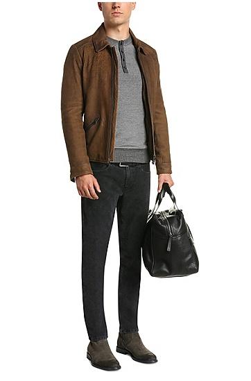 Slim-Fit Pullover aus Baumwollstrick: ´Kenhenry`, Schwarz