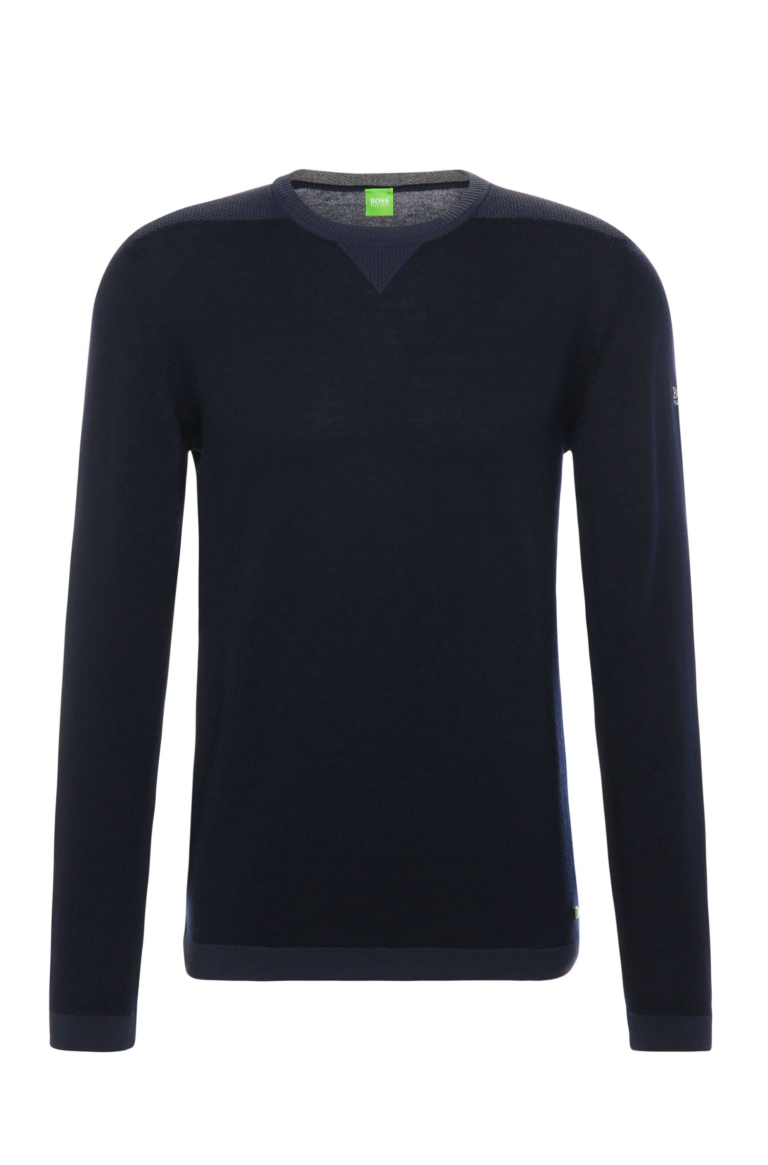 Knitted slim-fit sweater in new wool: 'Rove'