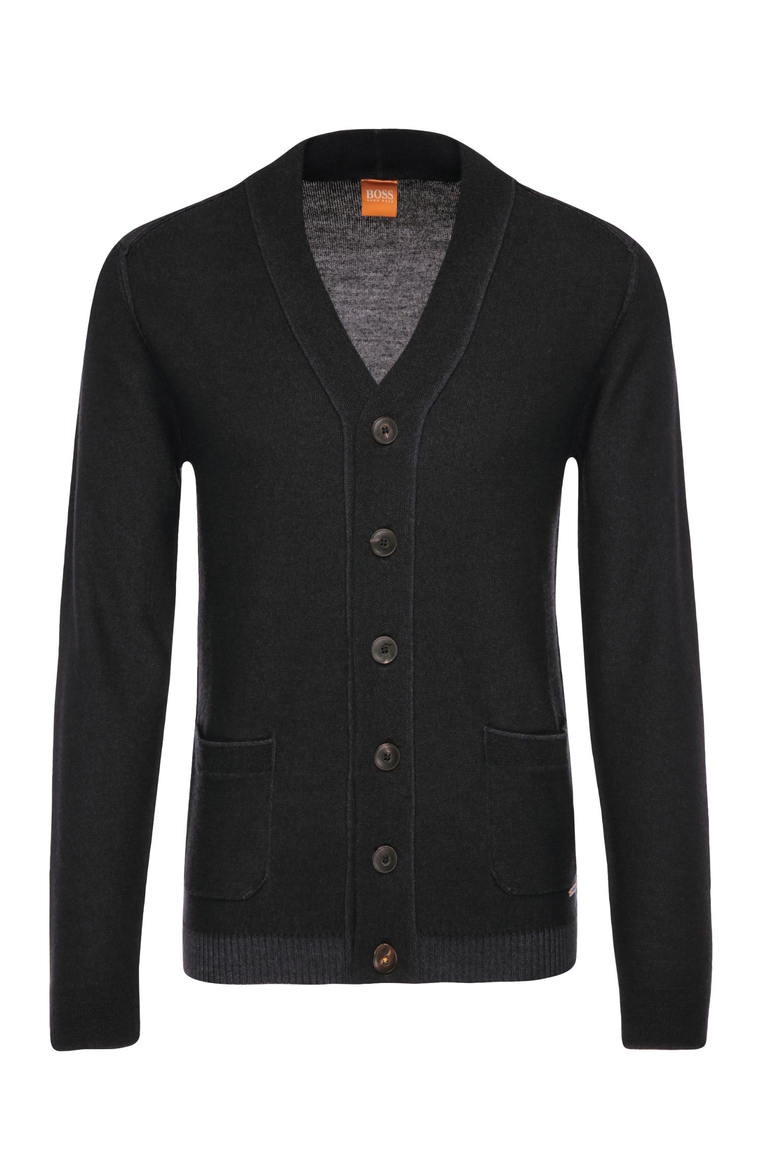 Slim-fit cardigan in pure new wool: 'Arreb'