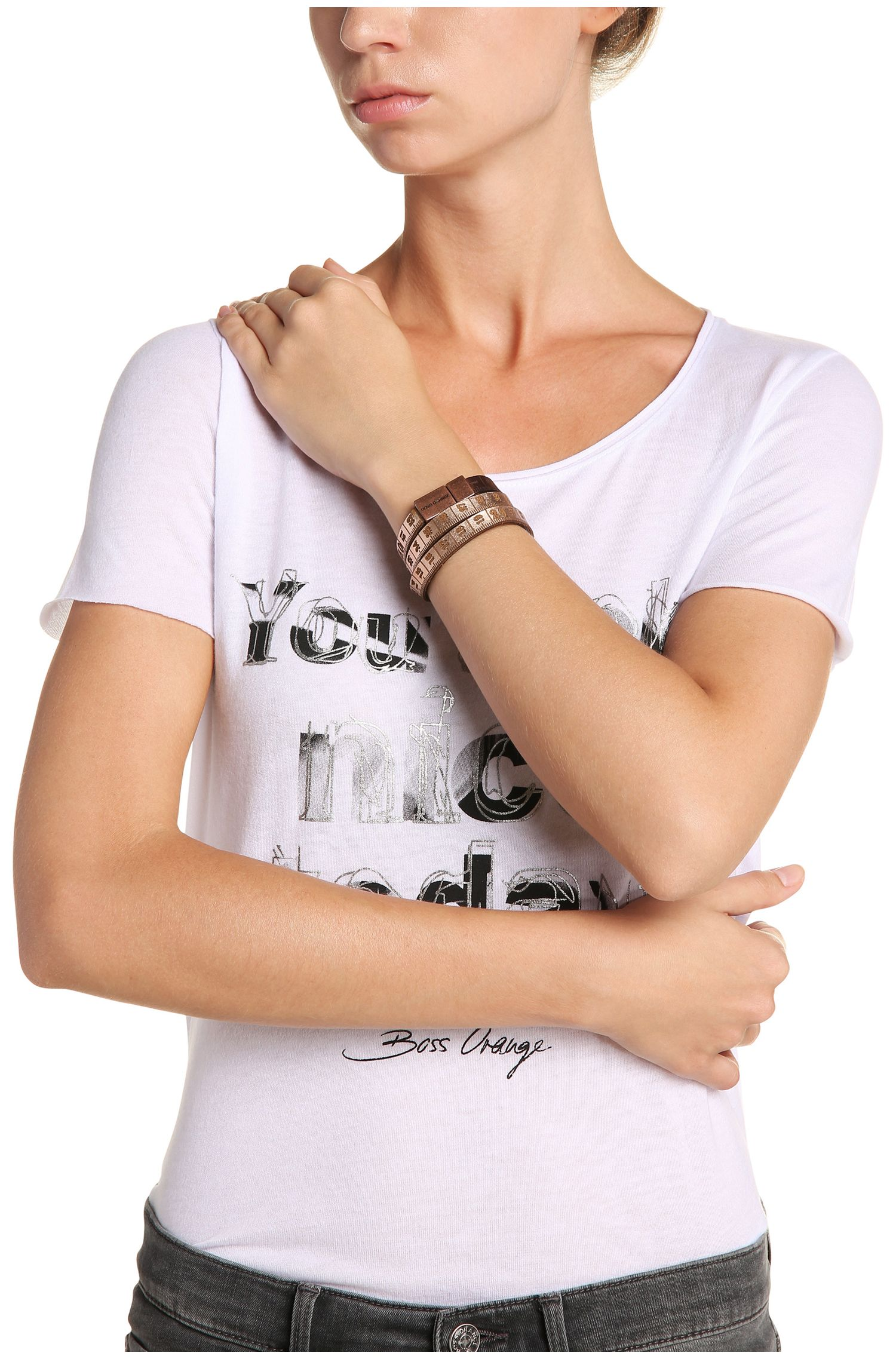 Wickelarmband aus Leder im Maßband-Look: ´Mancy`