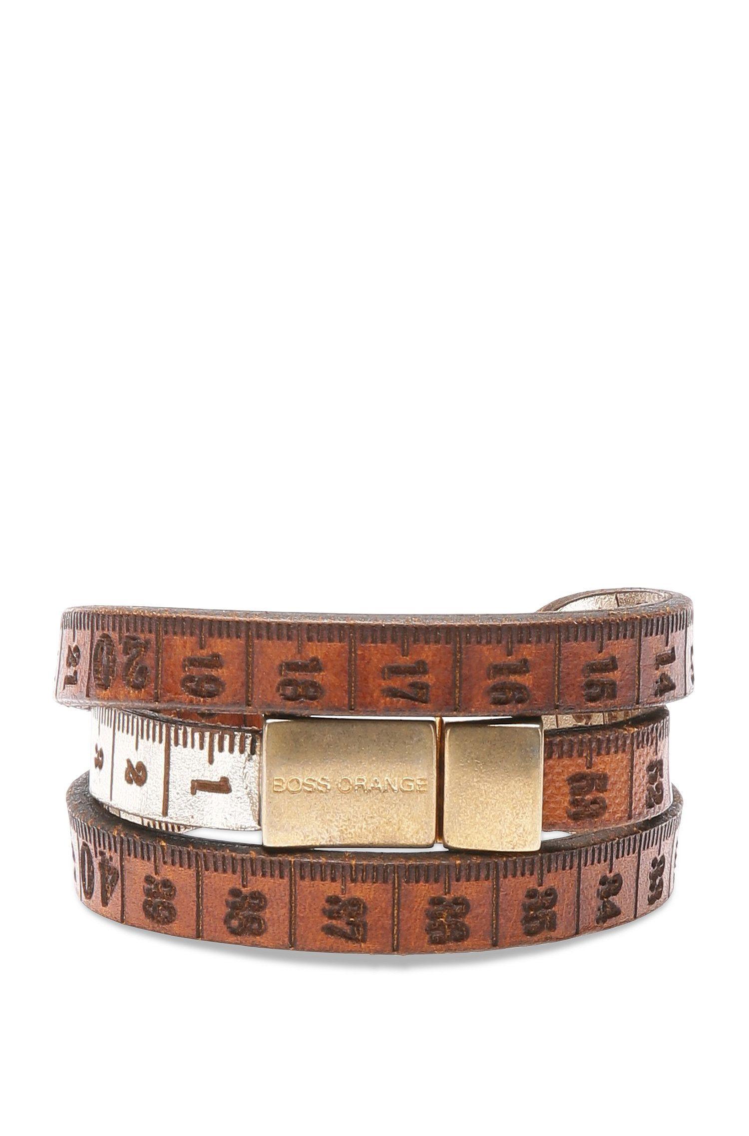 Leather wrap bracelet in measuring tape look: 'Mancy'