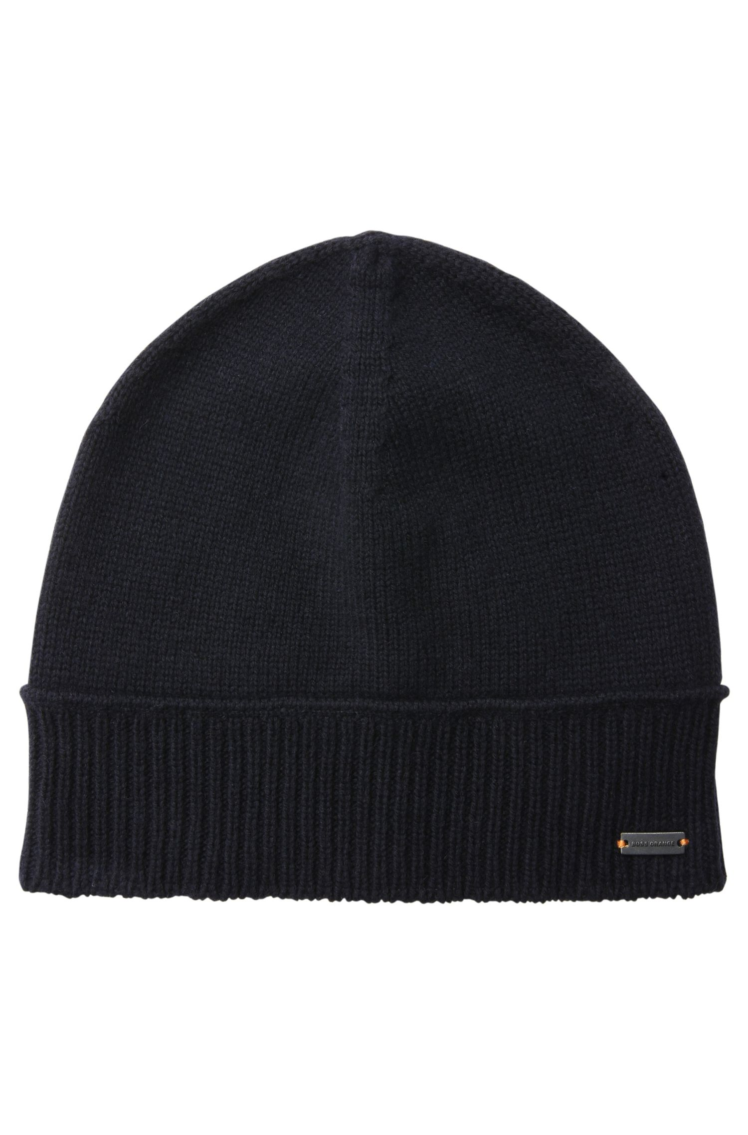 Knit cap with a ribbed hem in wool and cotton blend: 'Kapan'