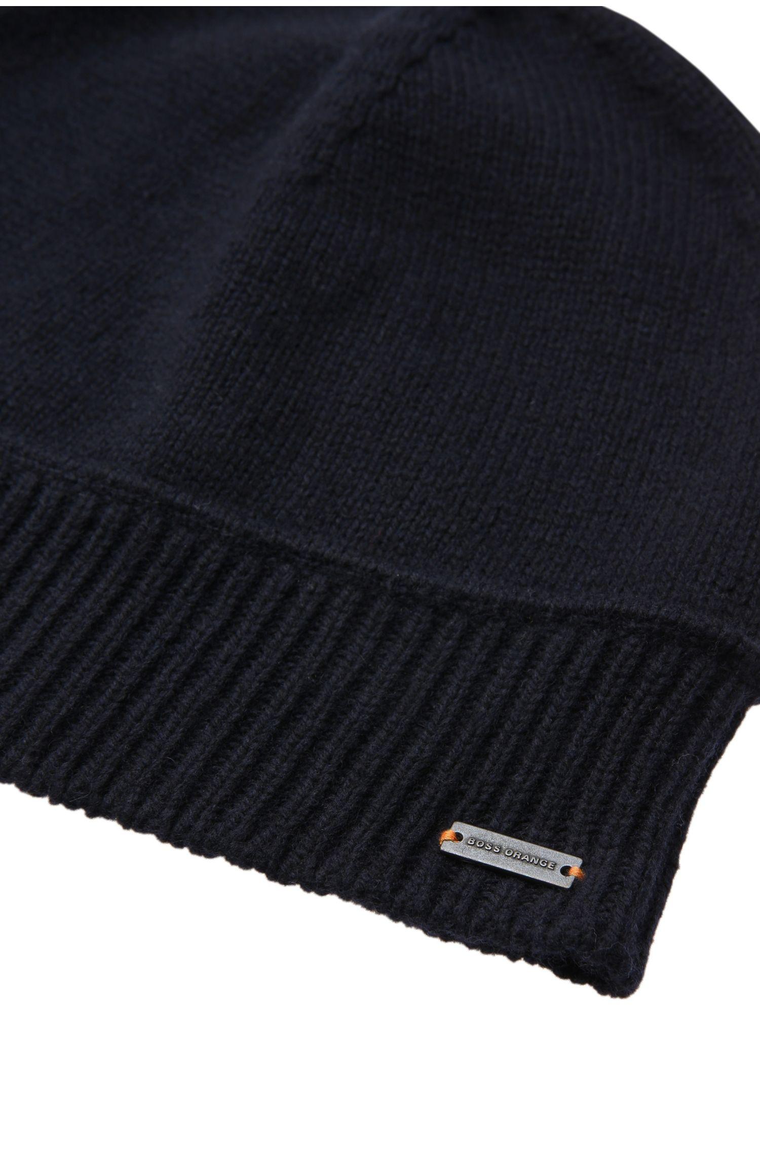 Strickmütze mit Rippsaum aus Wolle-Baumwoll-Mix: ´Kapan`