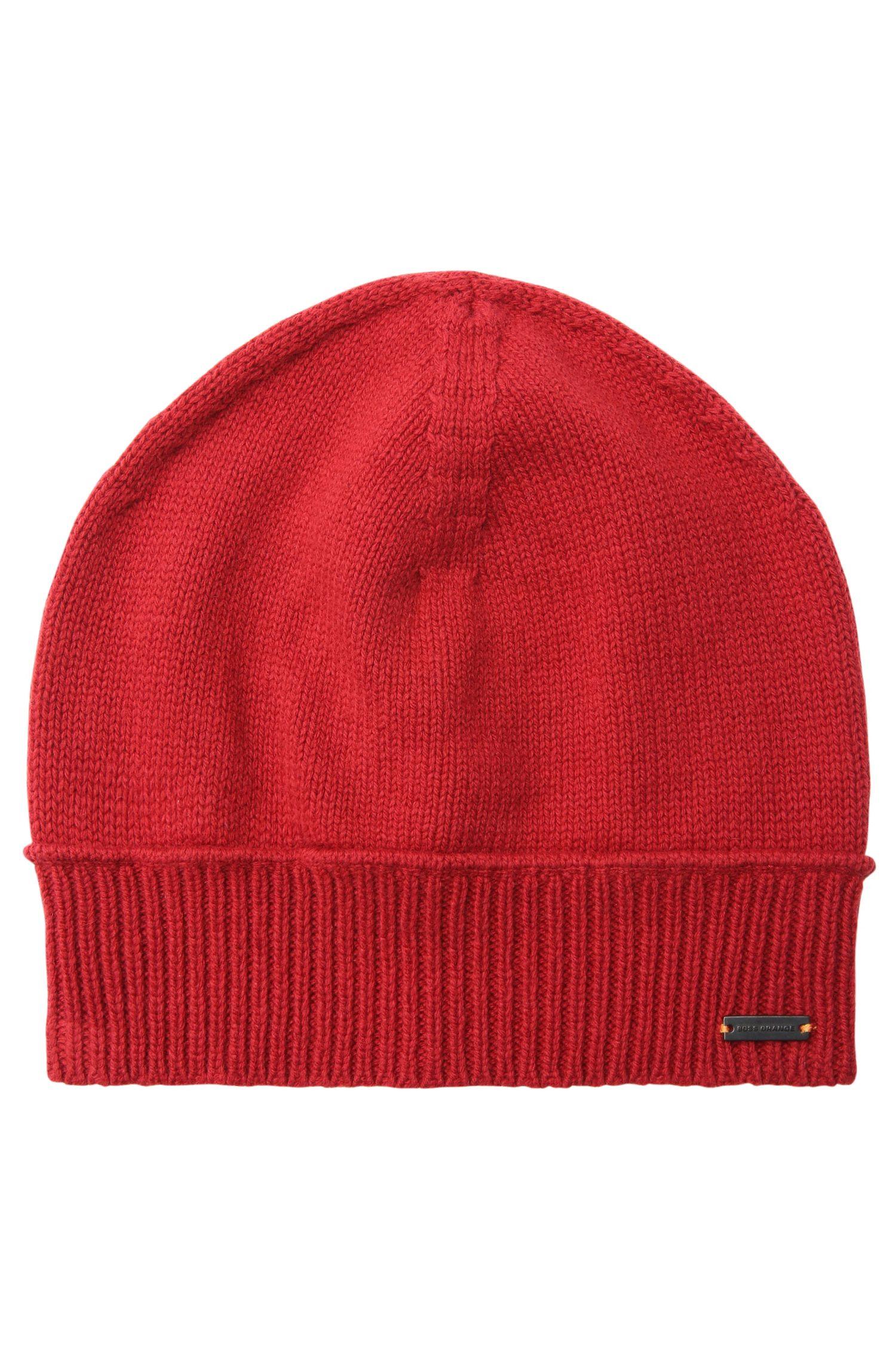 Bonnet en maille avec ourlet côtelé en laine mélangée à du coton: «Kapan»