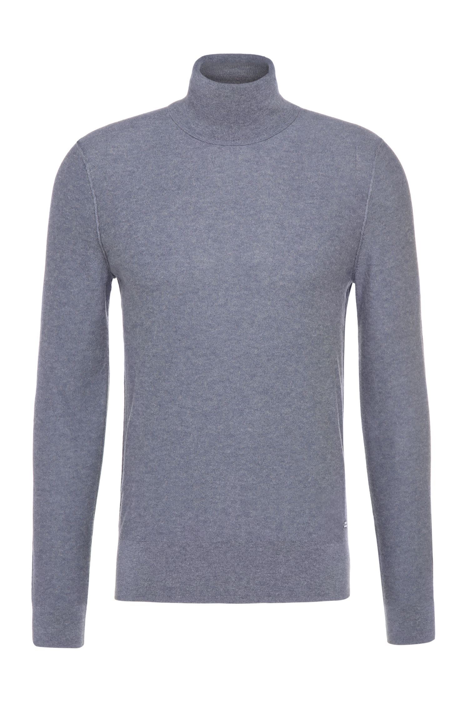 Slim-fit polo neck sweater in cotton blend with yak: 'Akrol'