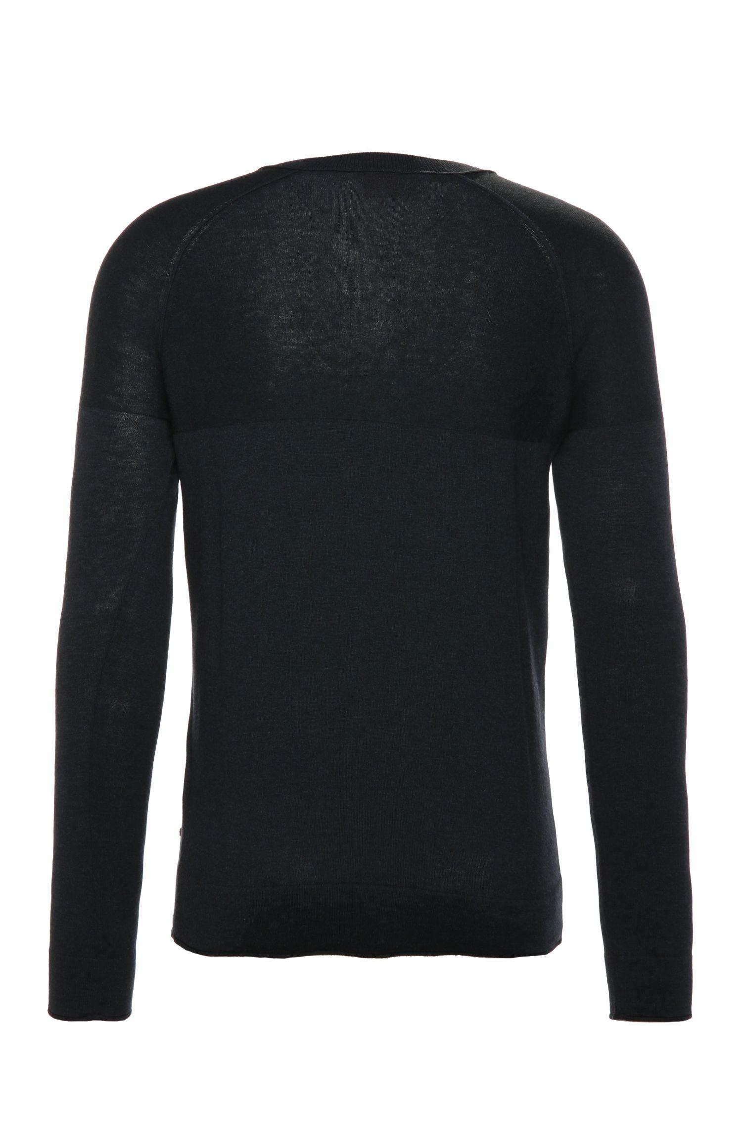 Gebreide slim-fit trui van een katoenmix: 'Kelaz'