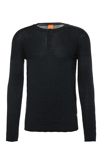 Gestrickter Slim-Fit Pullover aus Baumwoll-Mix: ´Kelaz`, Dunkelblau