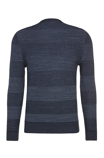 Gestreifter Slim-Fit Pullover aus Baumwolle und Schurwolle: ´Kastar`, Dunkelblau