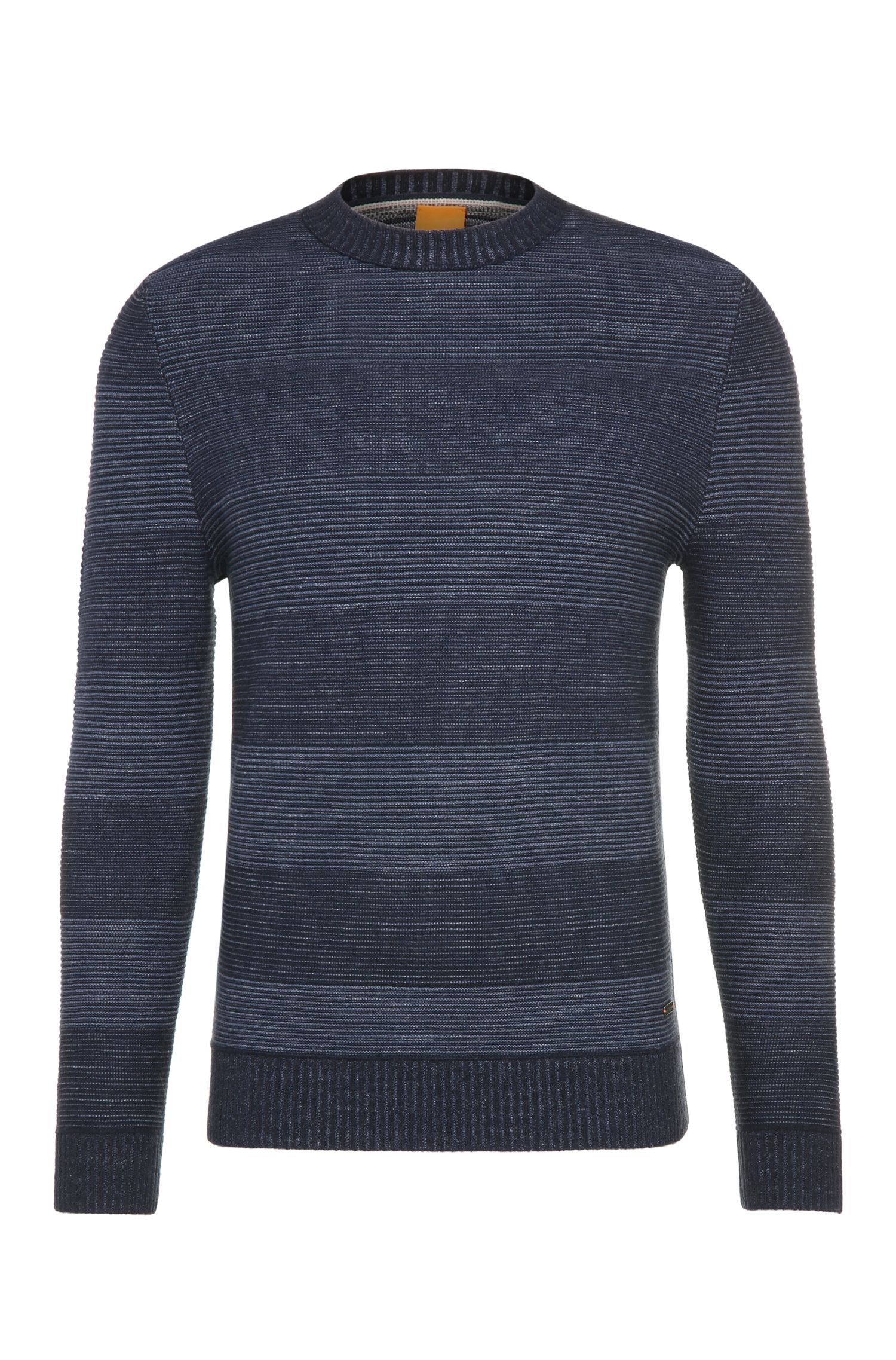 Striped slim-fit sweater in cotton and new wool: 'Kastar'