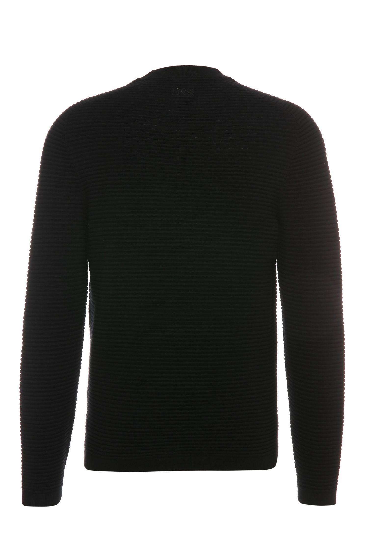 Pull à rayures Regular Fit en laine vierge à l'aspect côtelé: «Ree»