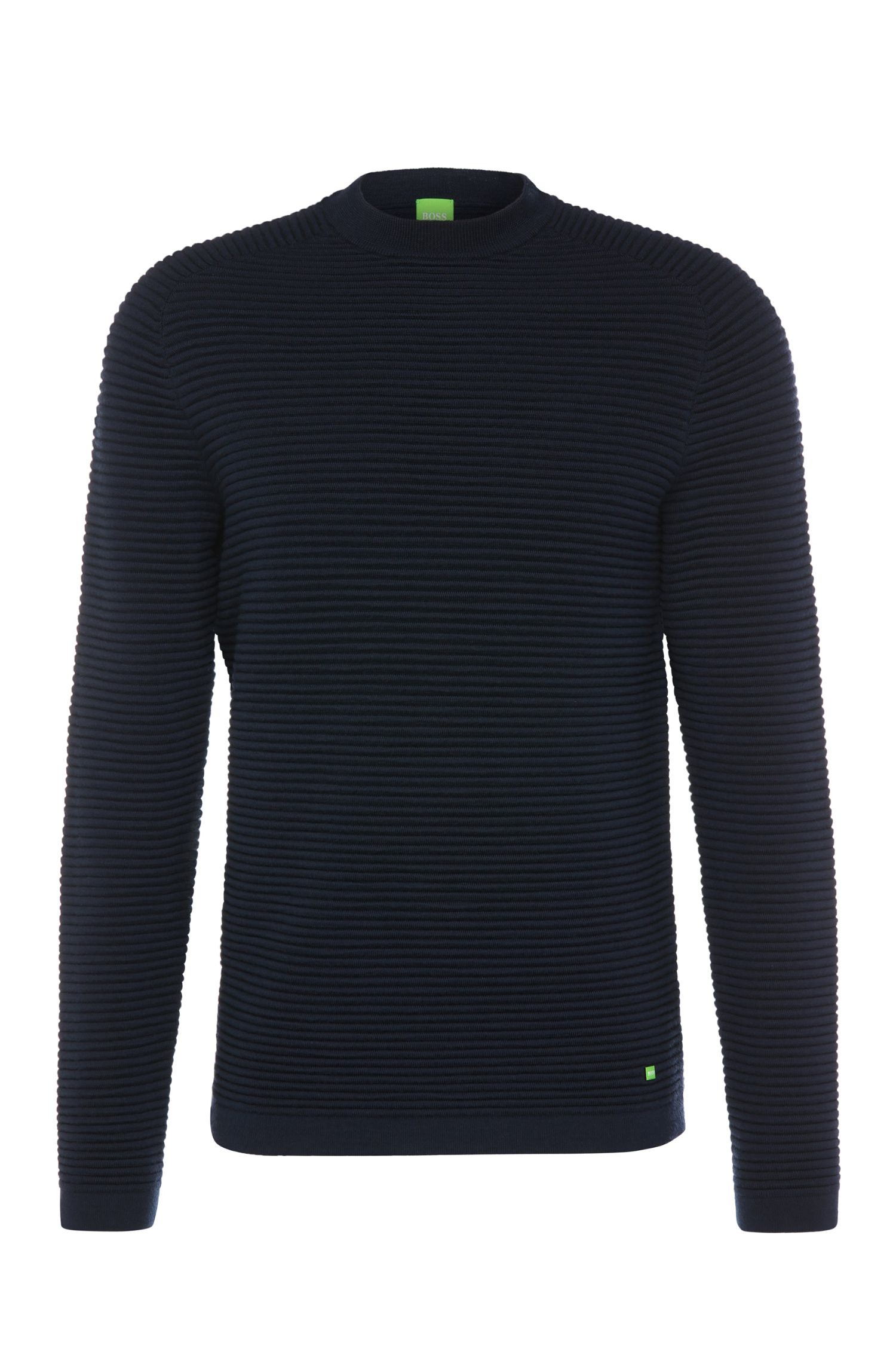 Regular-Fit Strickpullover aus Schurwolle in Ripp-Optik: ´Ree`